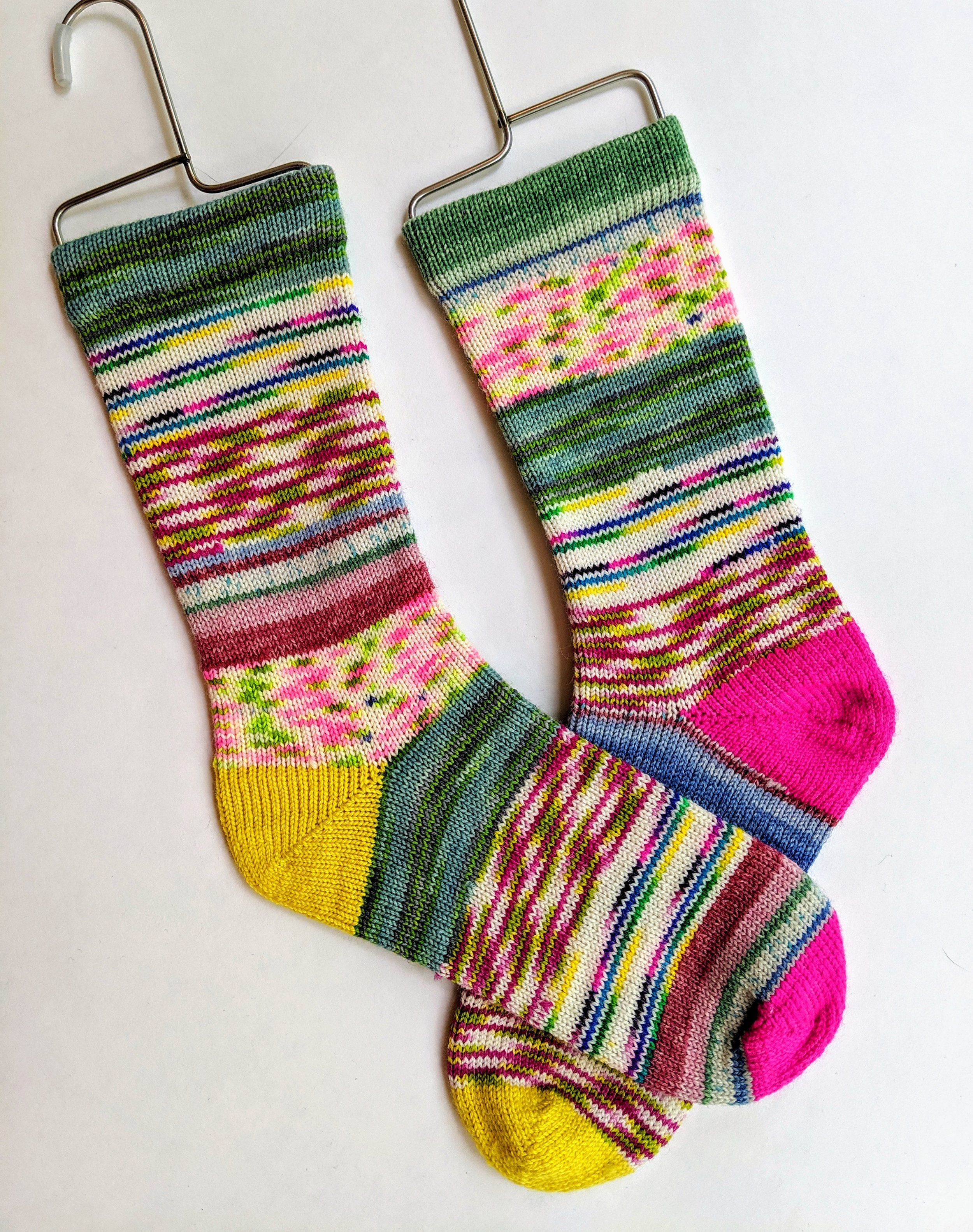 """""""Frankensocks"""" (made from yarn leftovers); wool and nylon"""