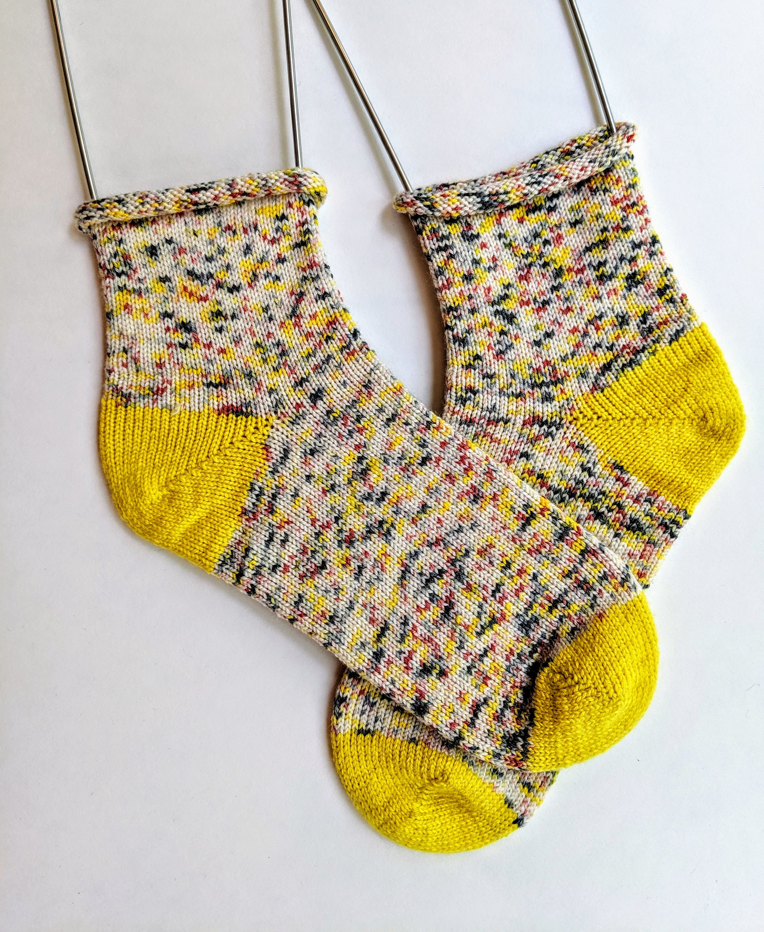 Hand-dyed roll top socks; wool and nylon