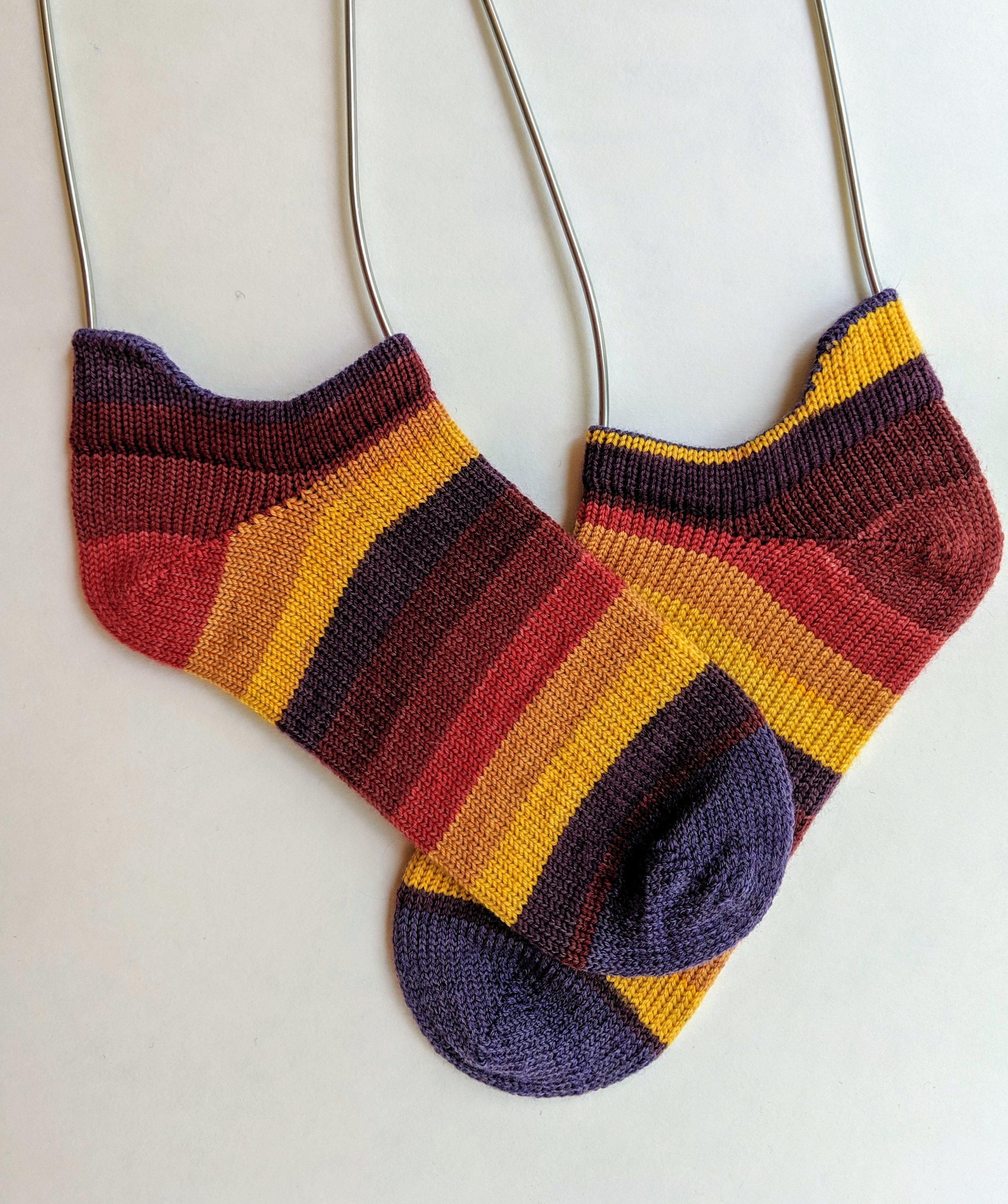 """No show"" shortie socks; wool and nylon"