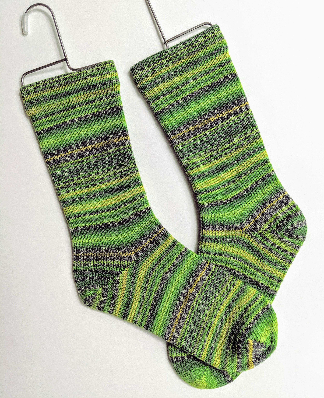 Green stripe socks; wool and nylon