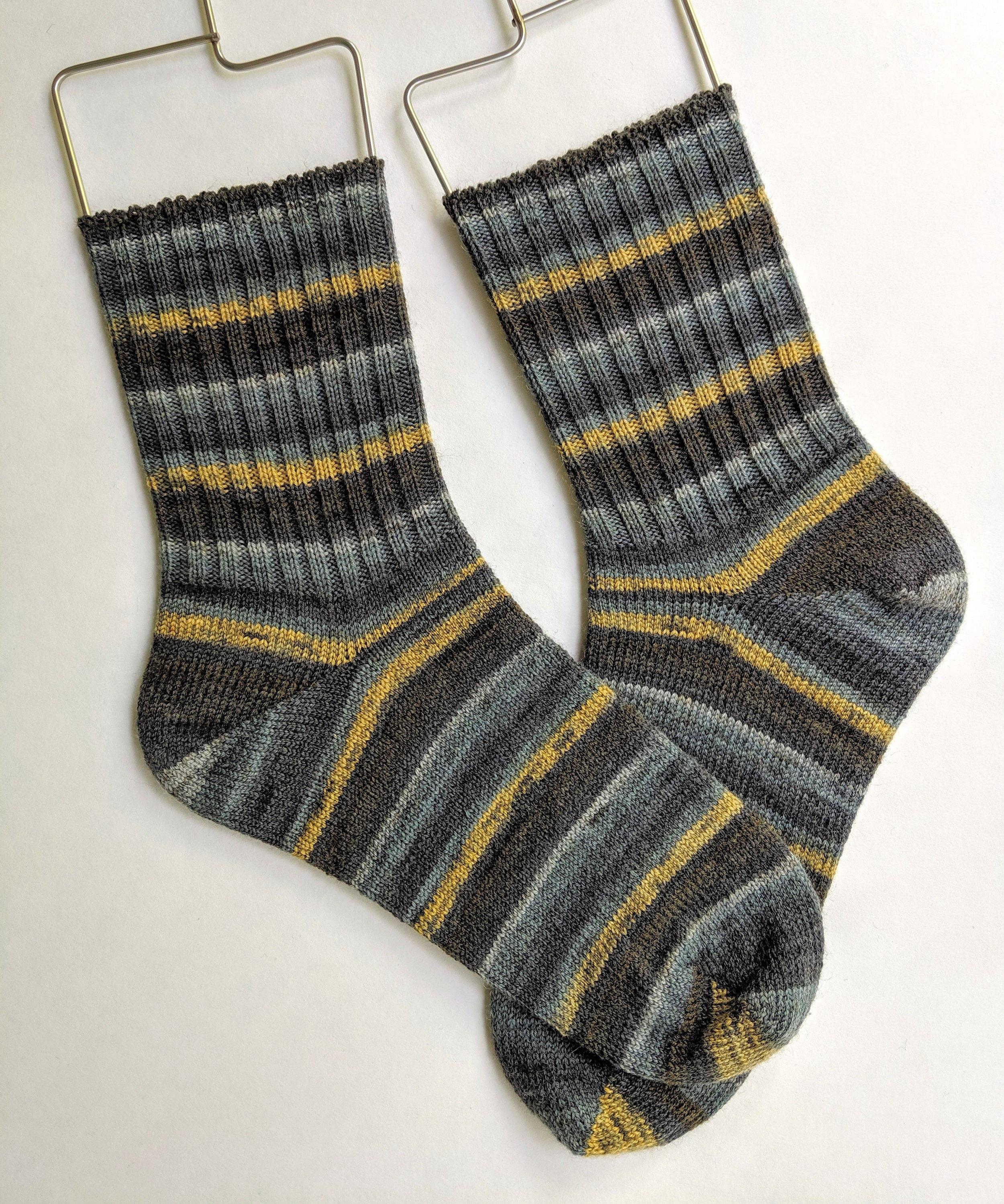 Men's ribbed cuff socks; wool and nylon