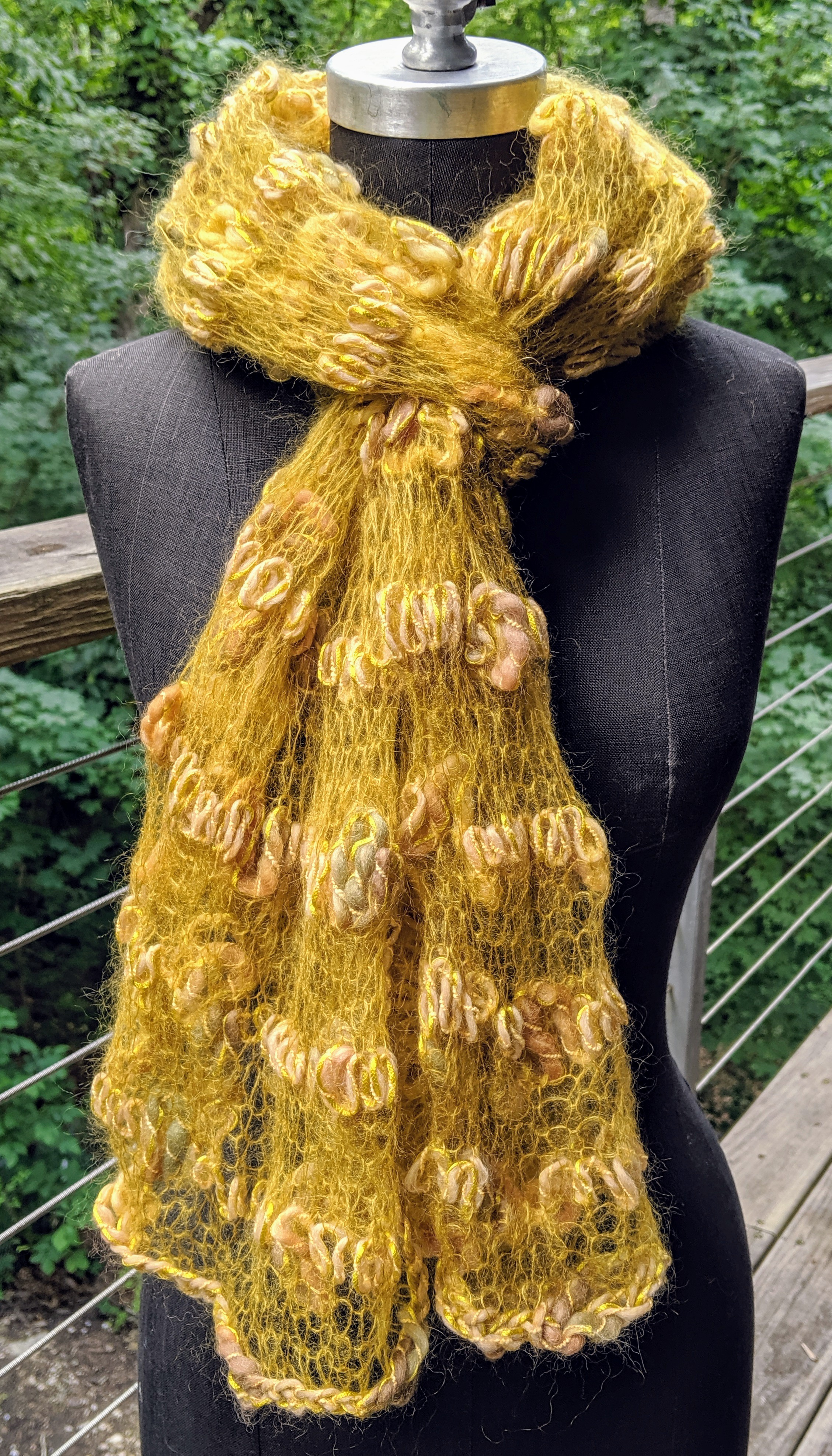 Scribble lace scarf; wool, silk, and mohair