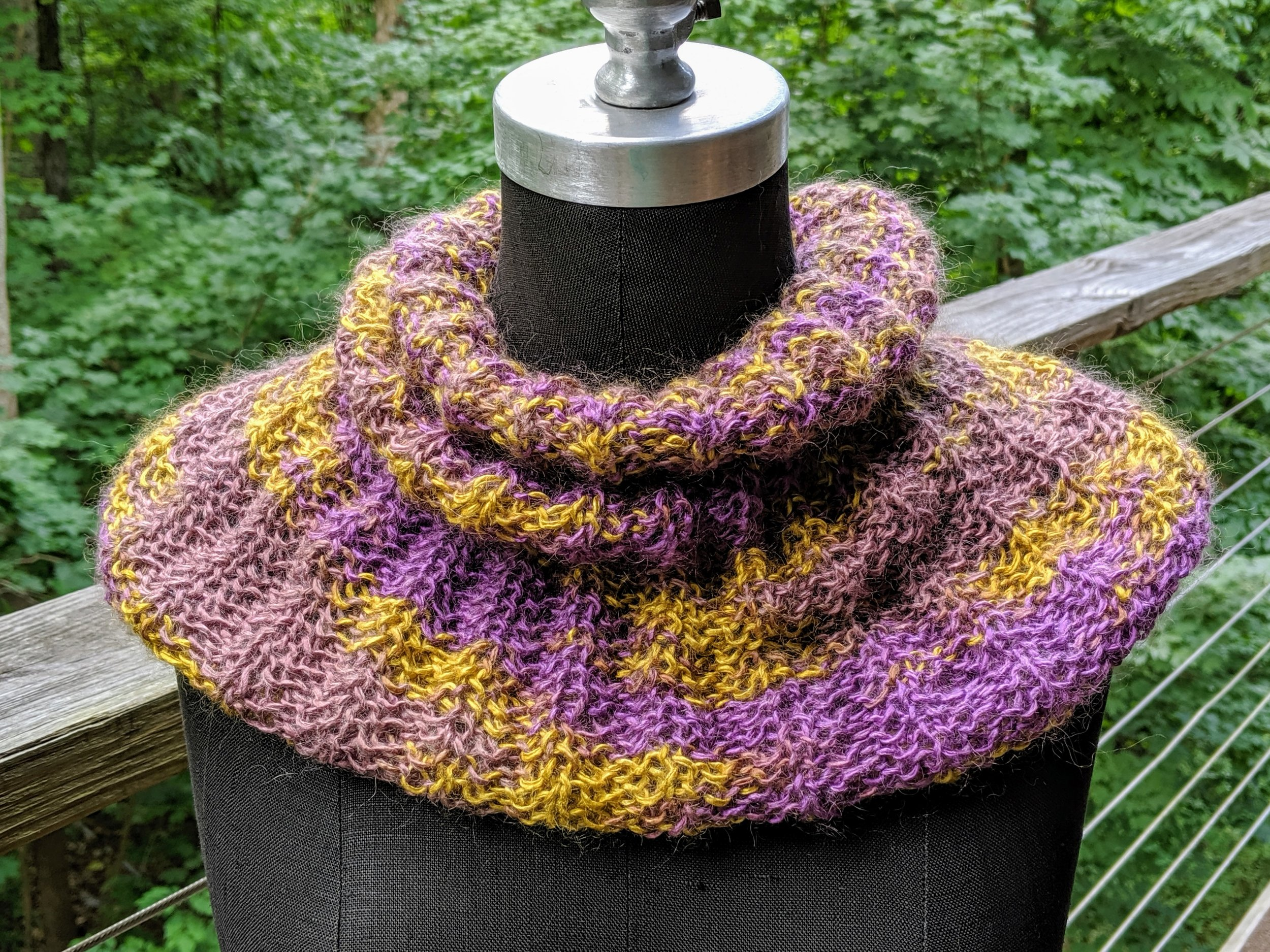 Lilac and gold cowl; silk and mohair