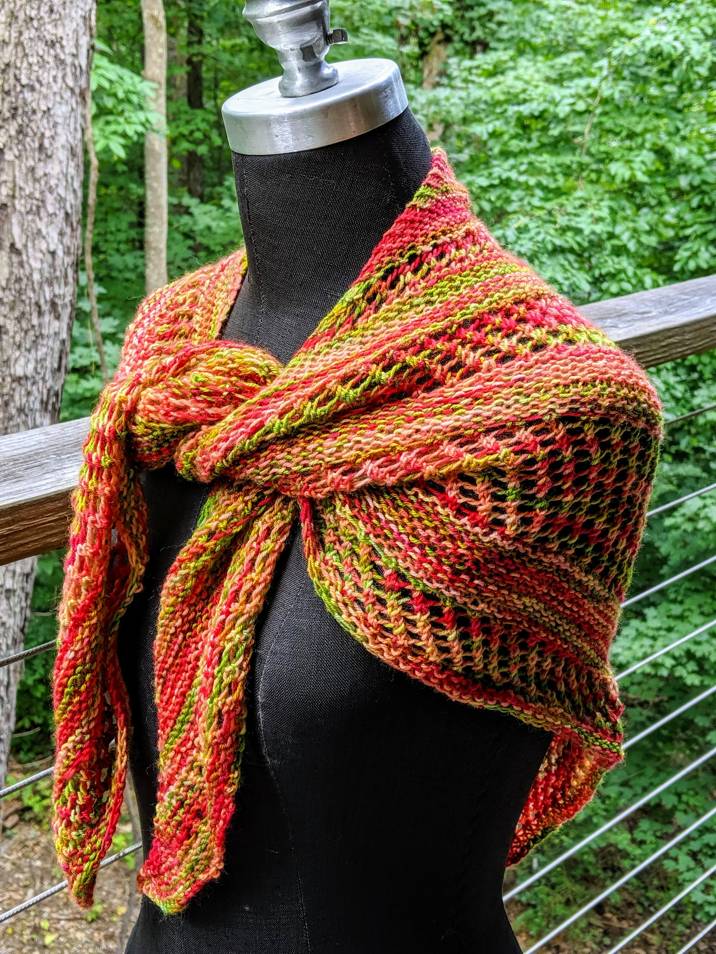 Red and green shawl; wool and nylon