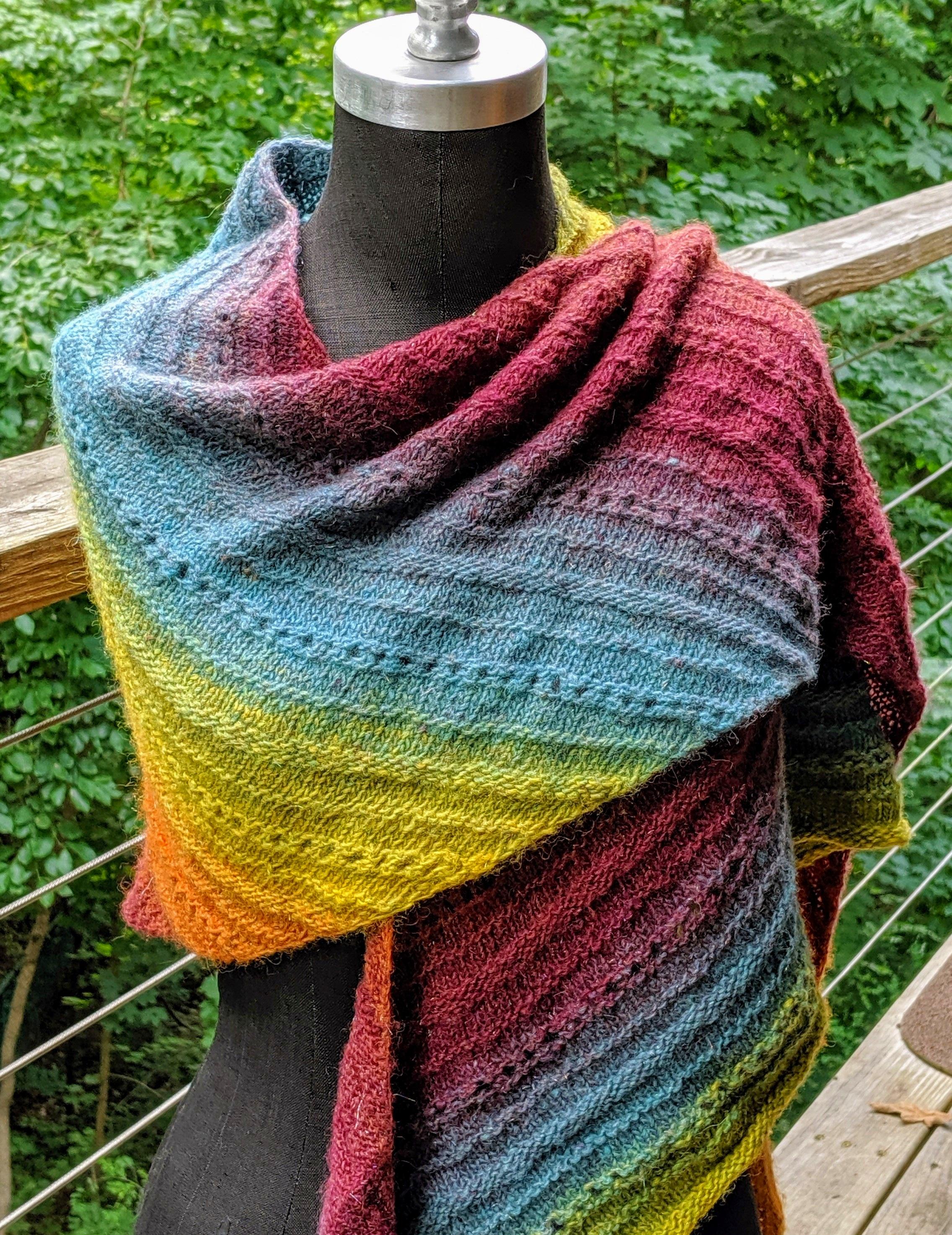 Color gradient shawl; handspun alpaca