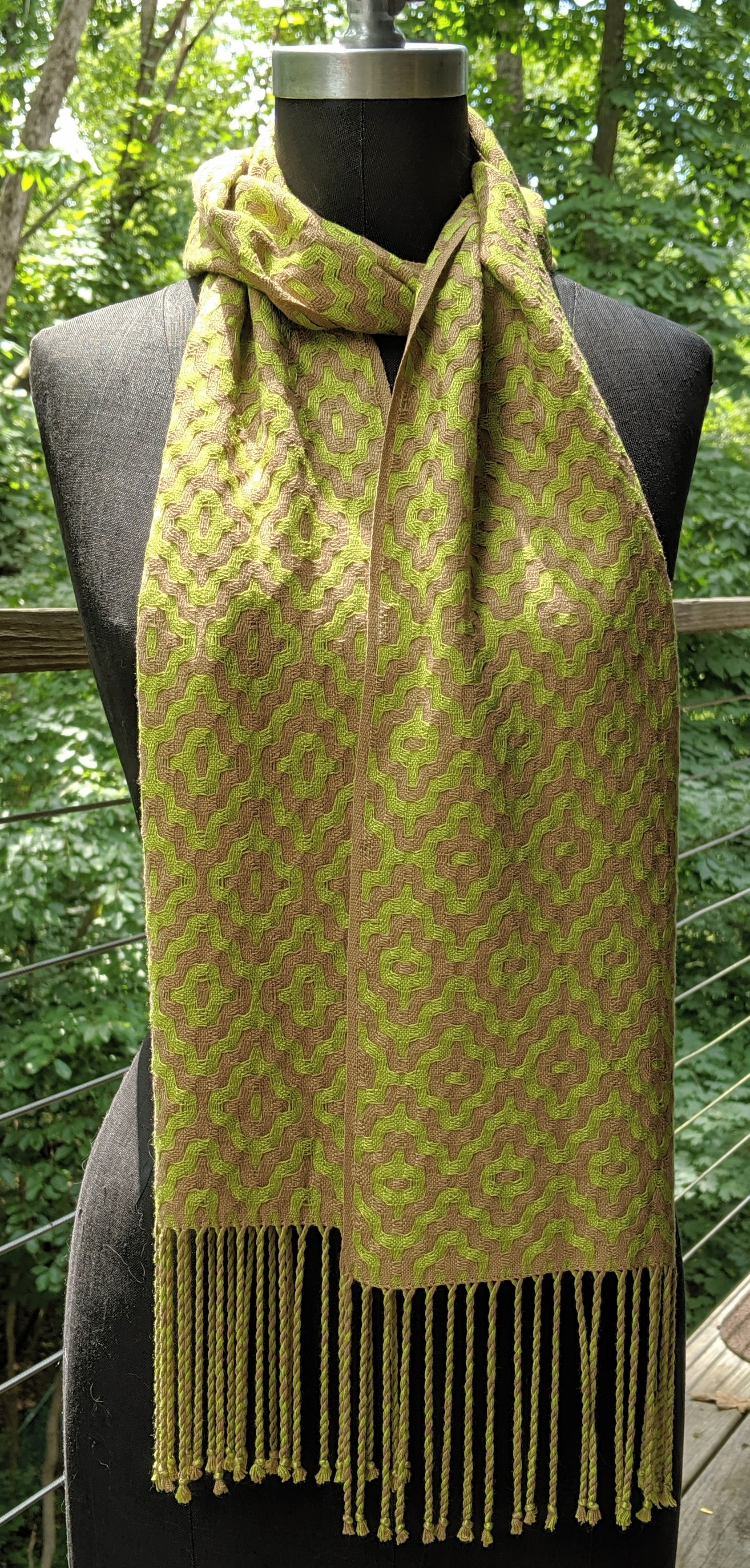 Deflected double weave scarf; bamboo