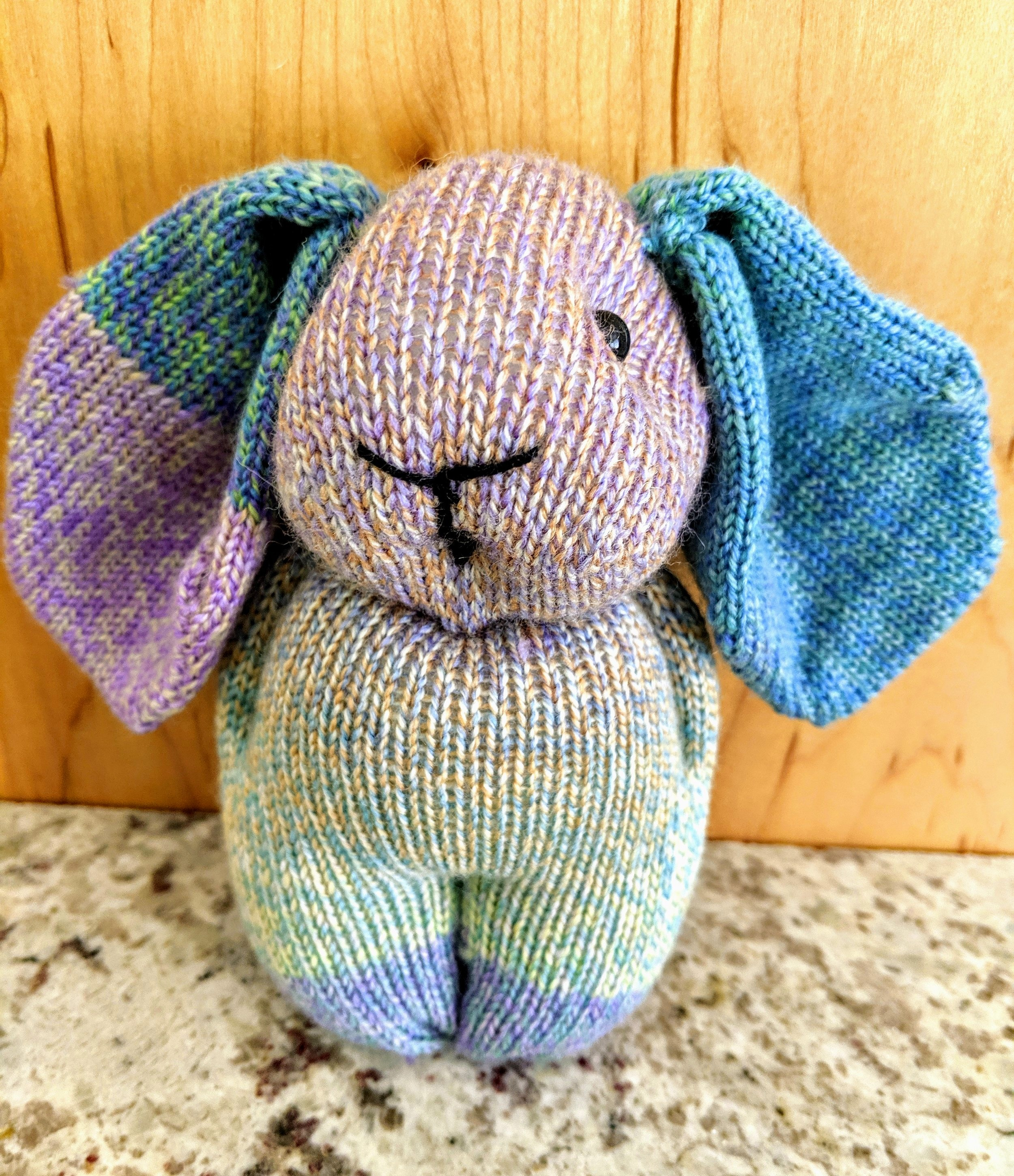 Sock machine bunny; wool and nylon