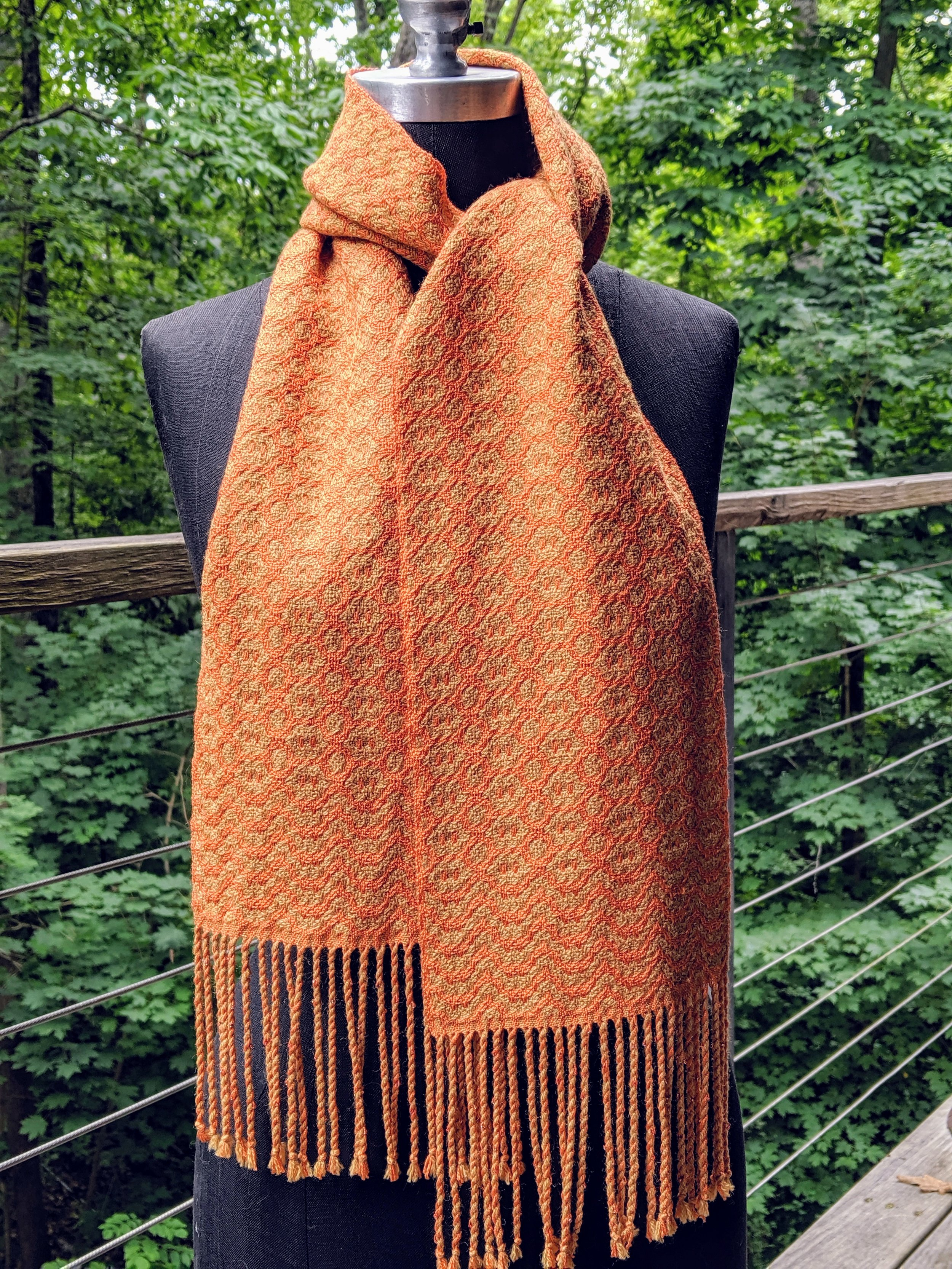 Deflected double weave scarf; wool and silk