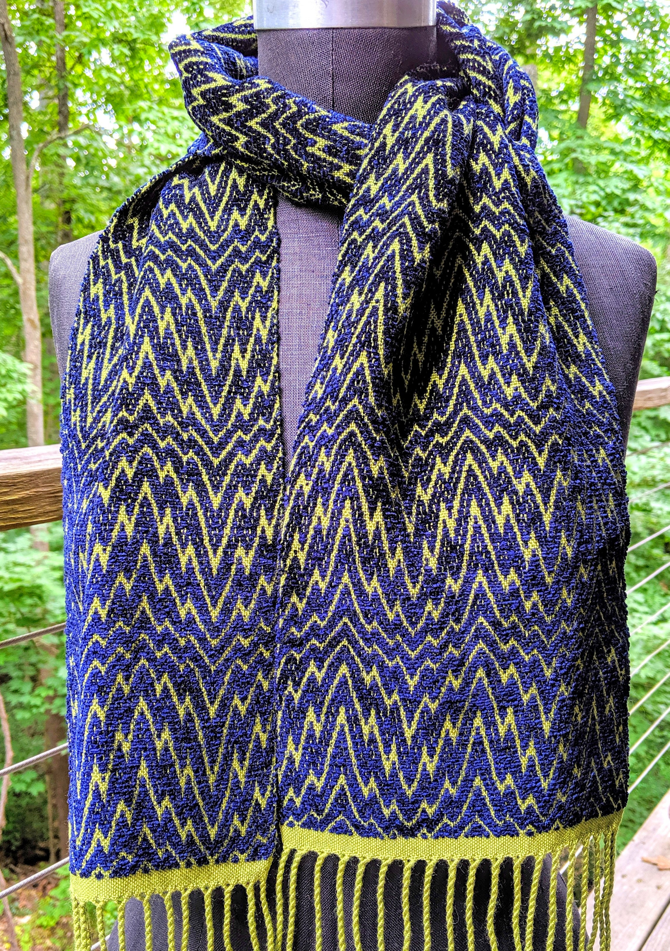 Overshsot weave scarf; silk and rayon chenille