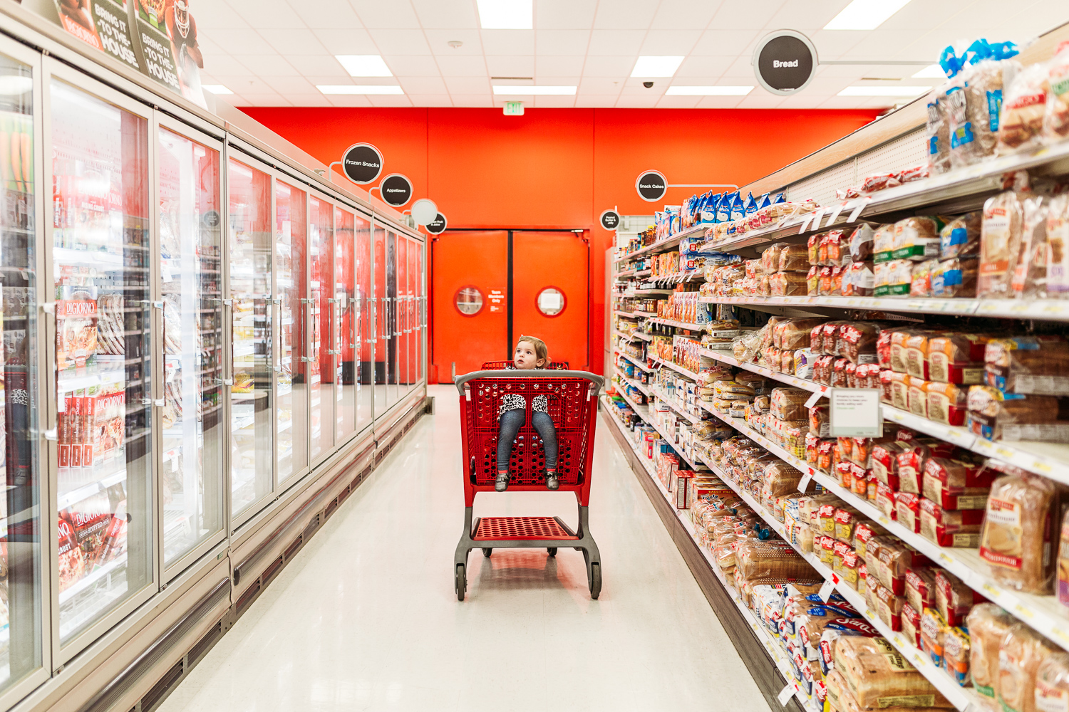 Girl in shopping cart in Target, Brookfield, Wisconsin
