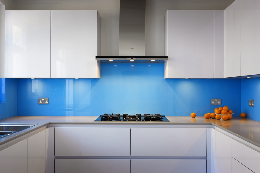 Kitchen & Bathroom Splashbacks - Bespoke backpainted coloured glass splashback to match any colour