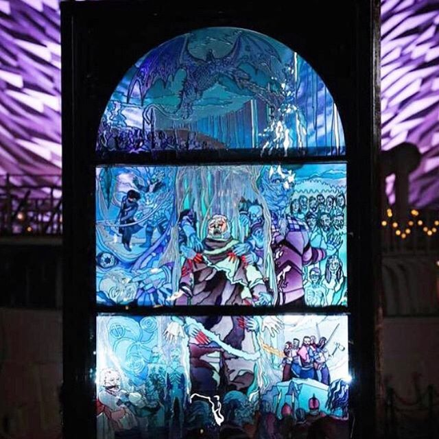 With the final episode of #GOT on the horizon, Belfast now have their second to last window dedicated, to the White Walkers, lighting up the city! We are so sad that this project is coming to an end, but still so proud to have been involved! Who else is staying up until the early hours to watch tomorrow's episode?? #glassofthrones #gameofthrones #got