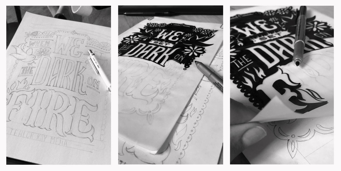 Handwritten lettering process with paper, pencil, vegetable ink and black pen.