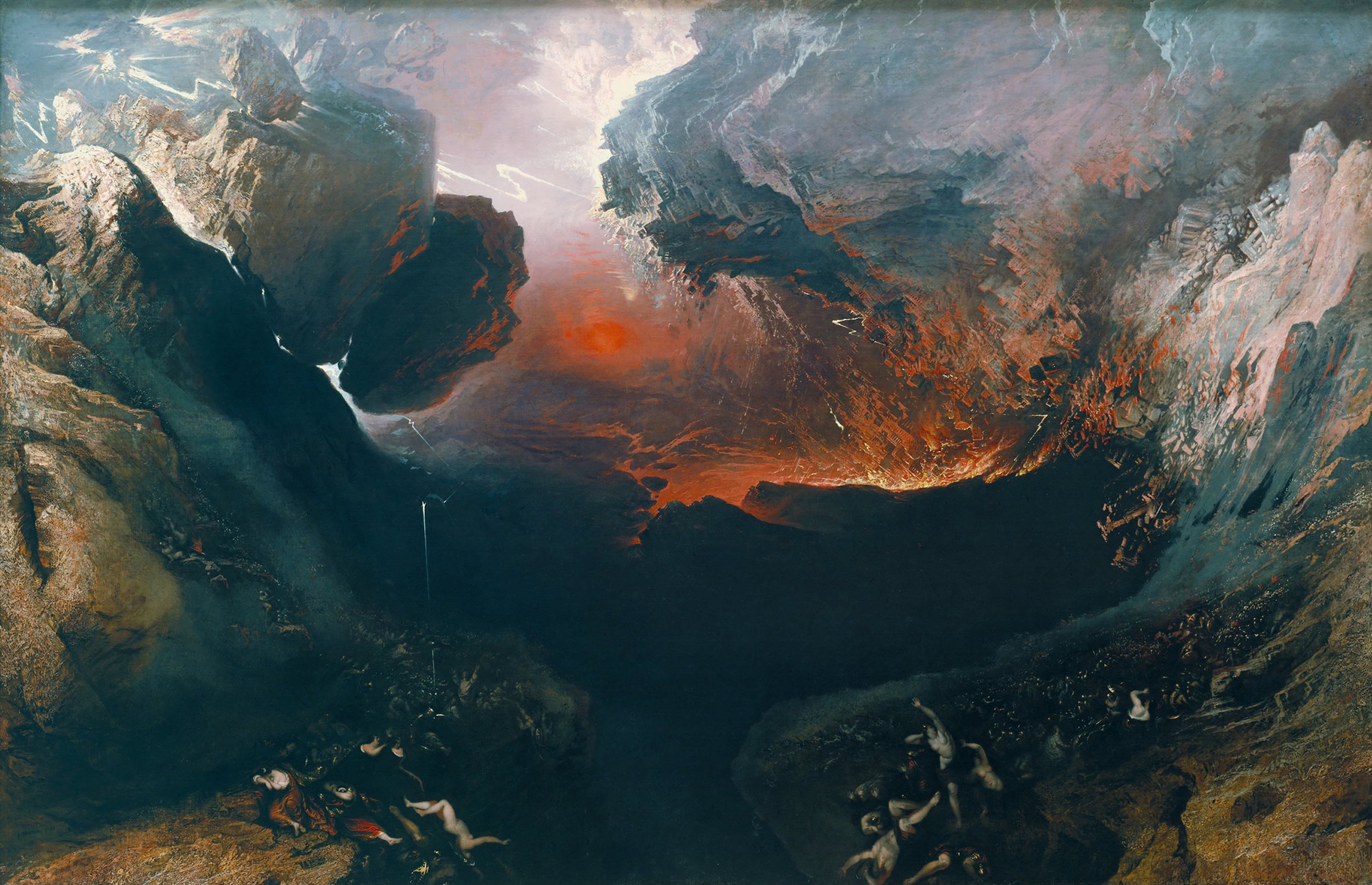 'The great day of his Wrath' 1851-1853 by John Martin is a prime example of Romanticism even though it's painted during the later stages of the artistic movement.