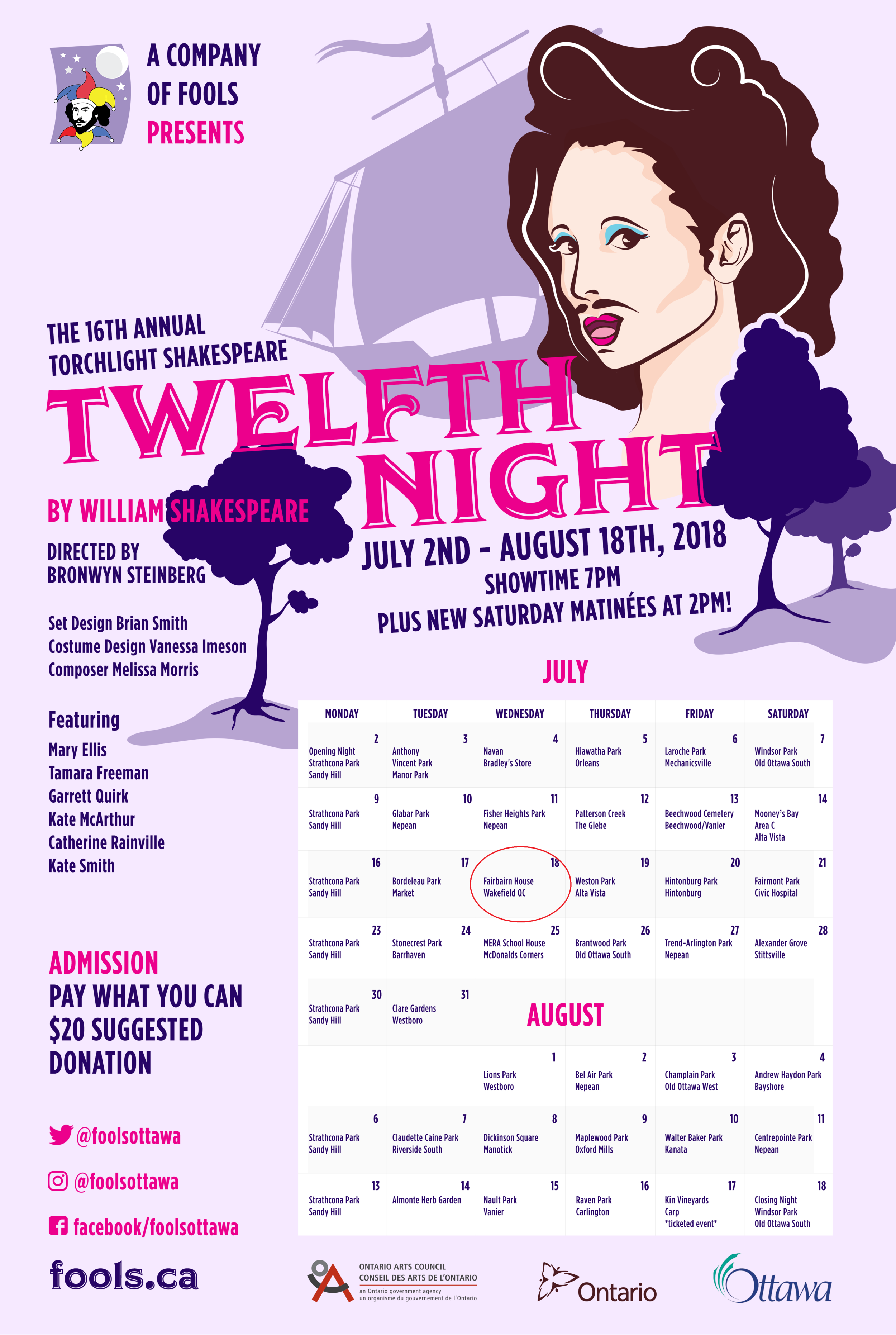 Fairbairn show date: Wednesday, July 18, 2018,7 pm - This 90 minute 6-actor production of Twelfth Night will play against the backdrop of 35 community parks in 50 performances across Ottawa and the surrounding area. Join the Fools for this vibrant gender-bending comedy of love, music, and mistaken identity. Fun for the whole family!Bring a lawn chair or blanket, bug spray, a picnic and your sense of humour! Pass-the-hat donations are collected at the end of the performance.