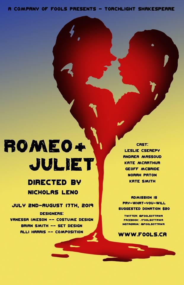 ROMEO & JULIET - DATE DE LA REPRÉSENTATION À FAIRBAIRN: 16 juillet, 2019 (en anglais)Apportez une couverture, une chaise et un pique-nique! Entrée par contribution volontaire.