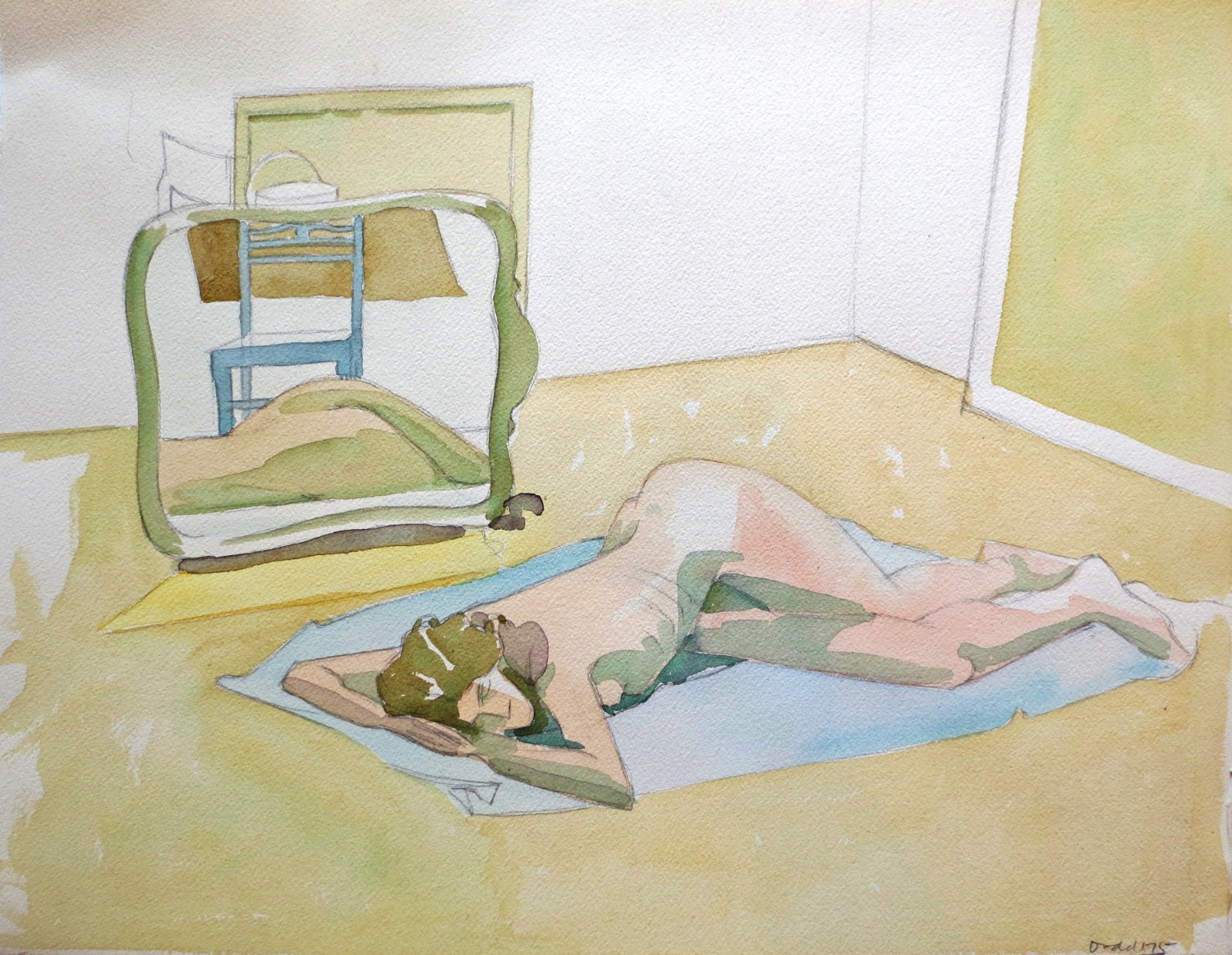 Nude with Mirror Reflecting Chair