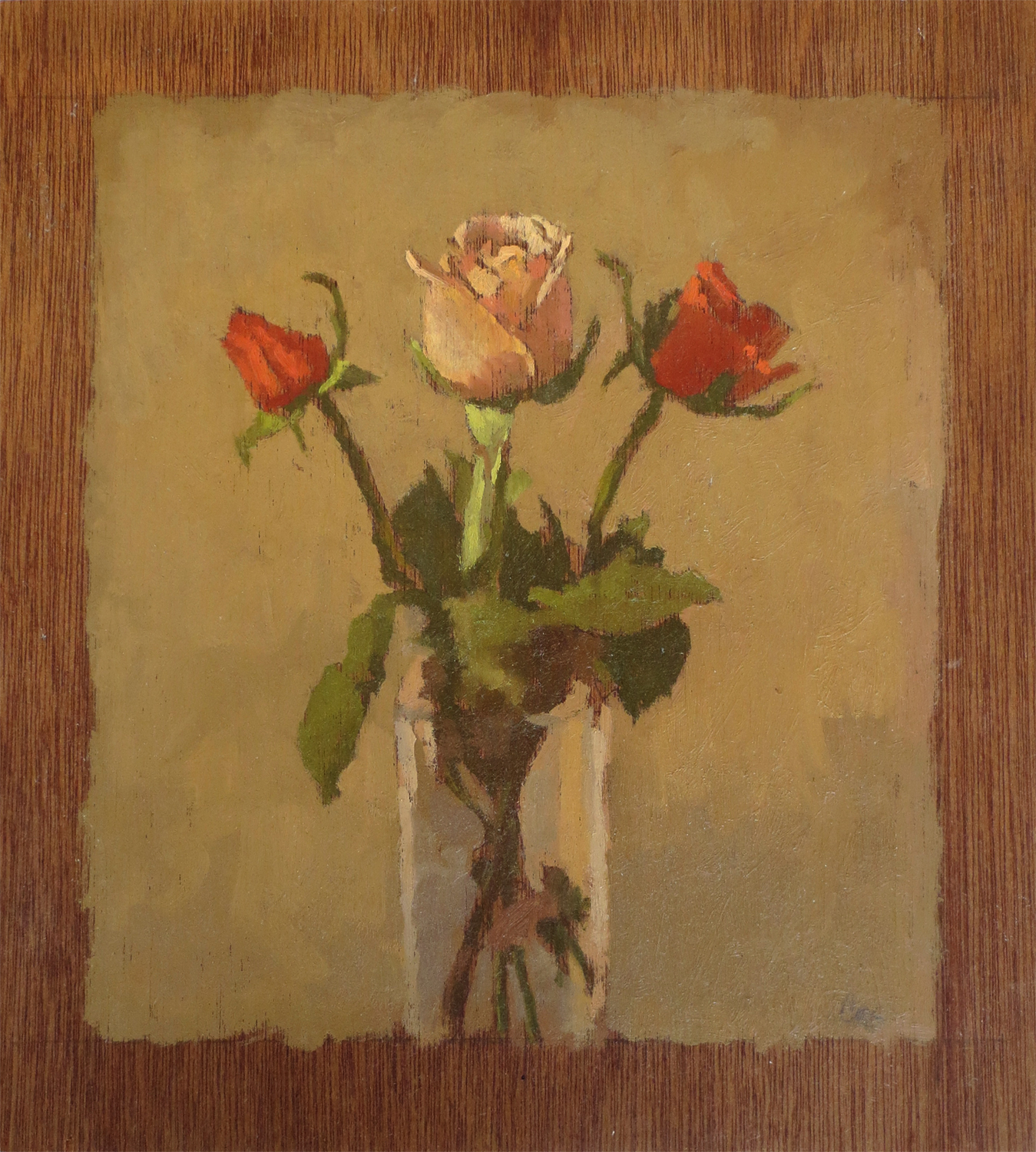 Colleen Cox, Three Roses in a Glass, oil on panel.jpg