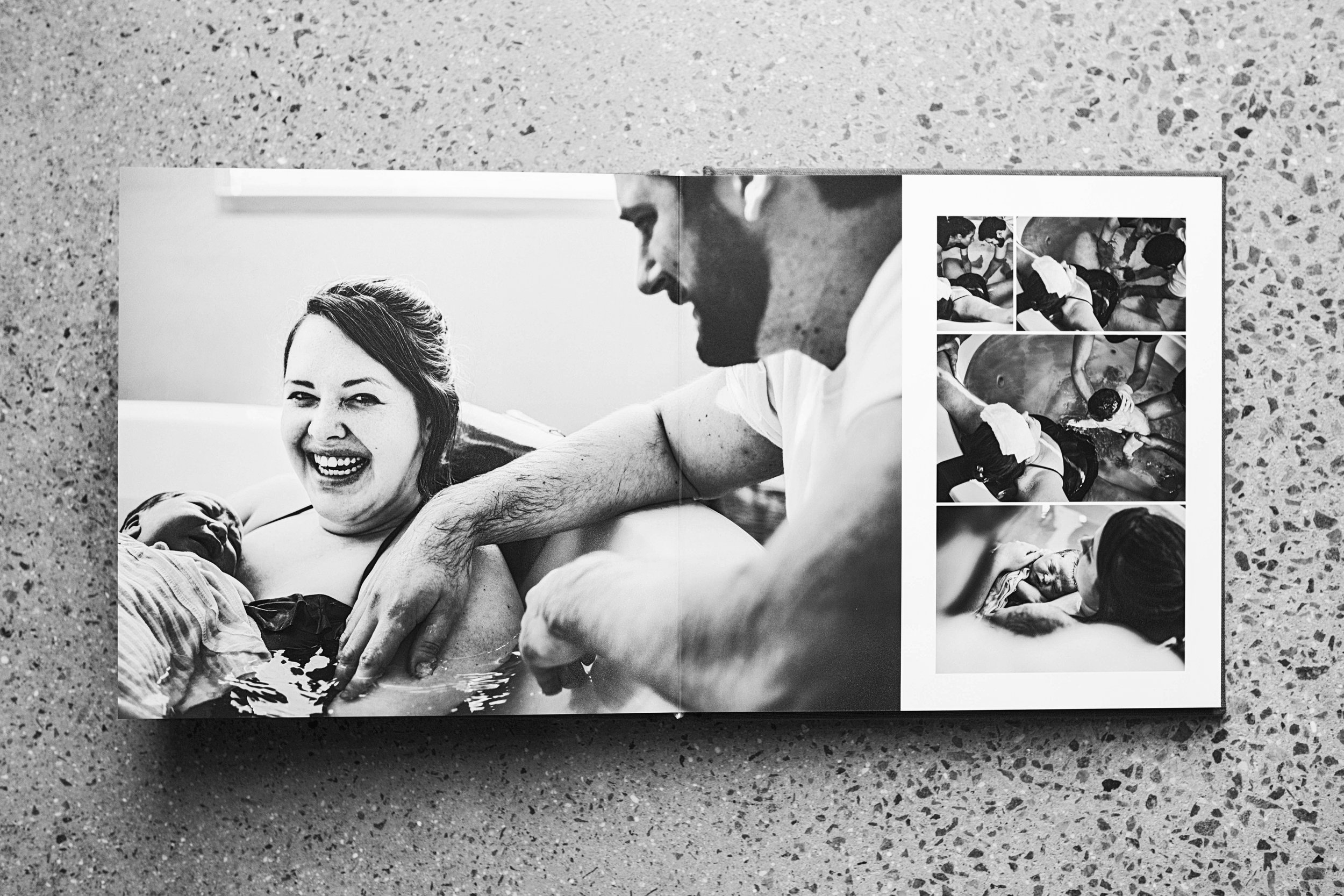 Linen lay flat albums to tell you birth story via images.