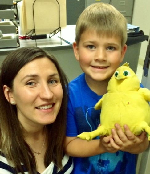 """""""It has been with such amazement that we have watched Emmett grow in his speech and become understood through the last few years by all individuals, not just his parents. We are so thankful and feel so blessed to have come upon these services. """"    -RiteCare Mom Laurie Pieper. (Above: RiteCare clinician Carrie Kenney, M.S., CCC-SLP with her one of her students)"""