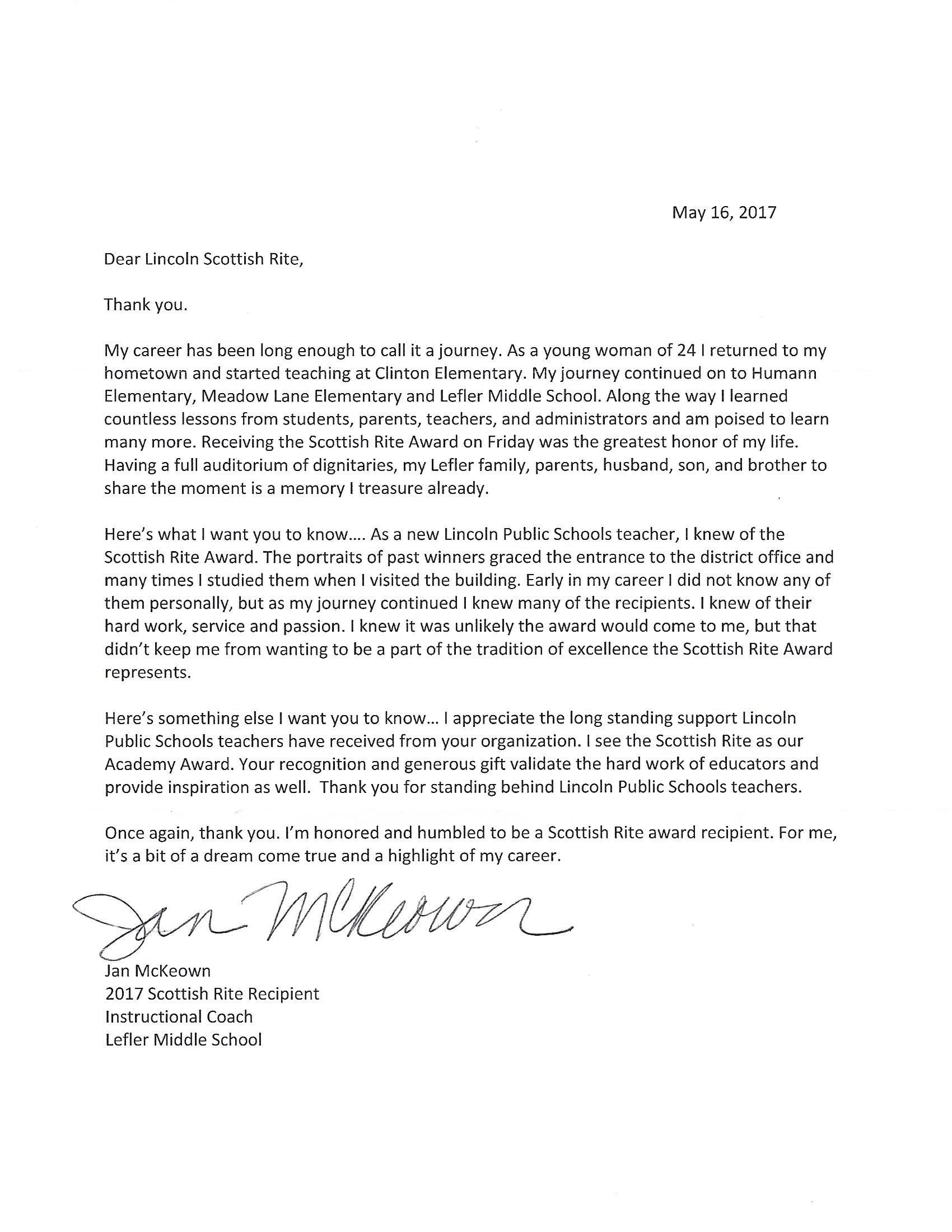 Click above to read a thank you letter from 2017 Distinguished Teacher of the Year Jan McKeown to Lincoln's Scottish Rite Masons.