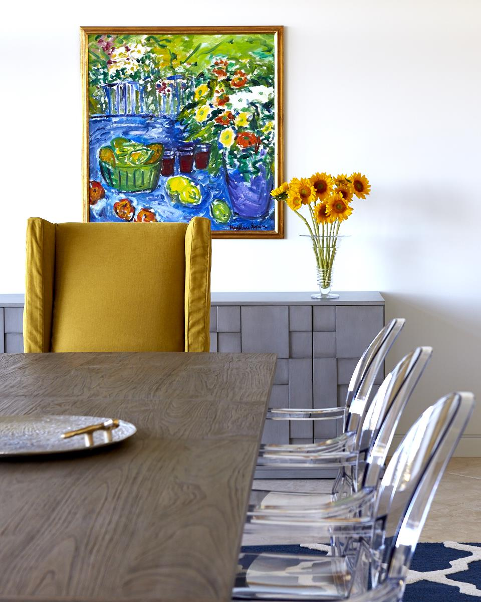 Client's artwork, console by Redford House, table by Brownstone, host chair by Lee Industries