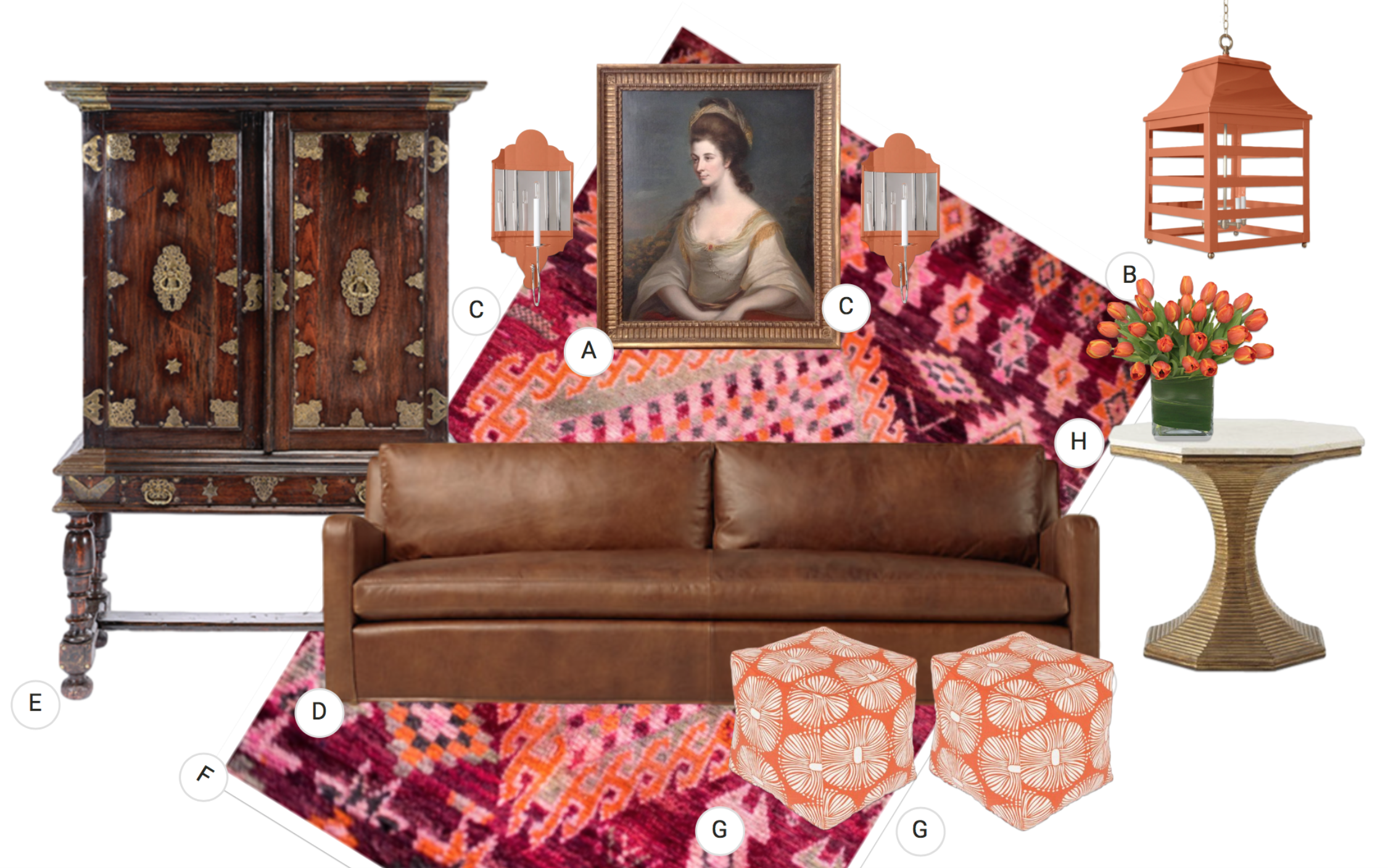 B.  Oomph Saybrook Lantern  C.  Oomph Charleston Sconce  D.  RH Belgian sofa  E.  Portuguese antique cabinet  F.  Coco Carpet vintage carpet  G.  Pouf  H.  Bunny Williams Hourglass table