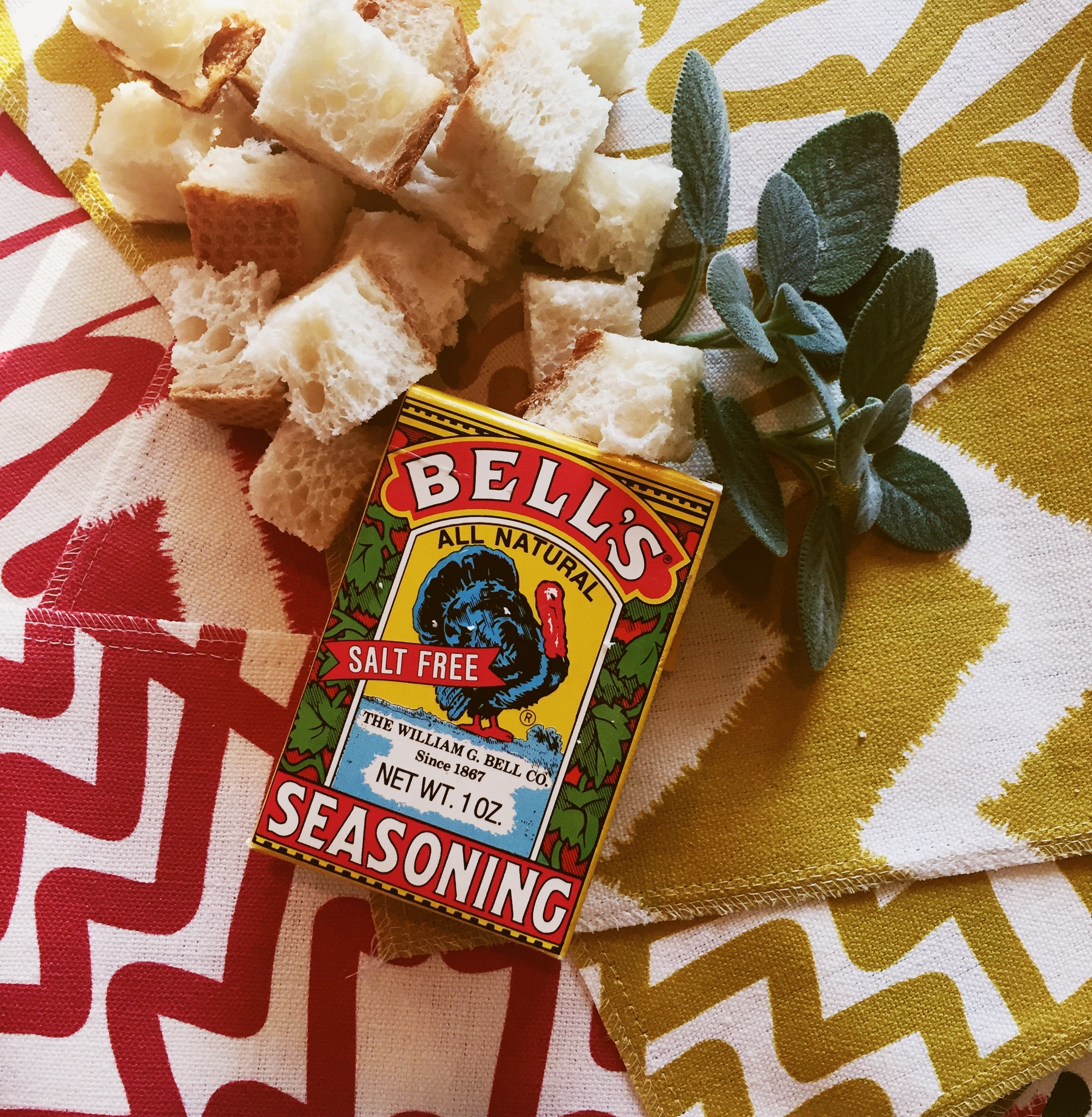Bell's  is the secret to amazing dressing! And don't those Workroom C fabrics look so great with the food?If you are super-handy, you could make a sassy table runner to go with your amazing dinner.