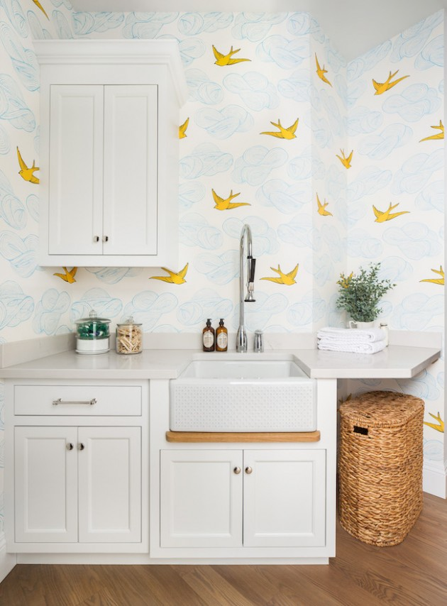 Use a bold wallpaper to make you smile.  Design By The Fox Group