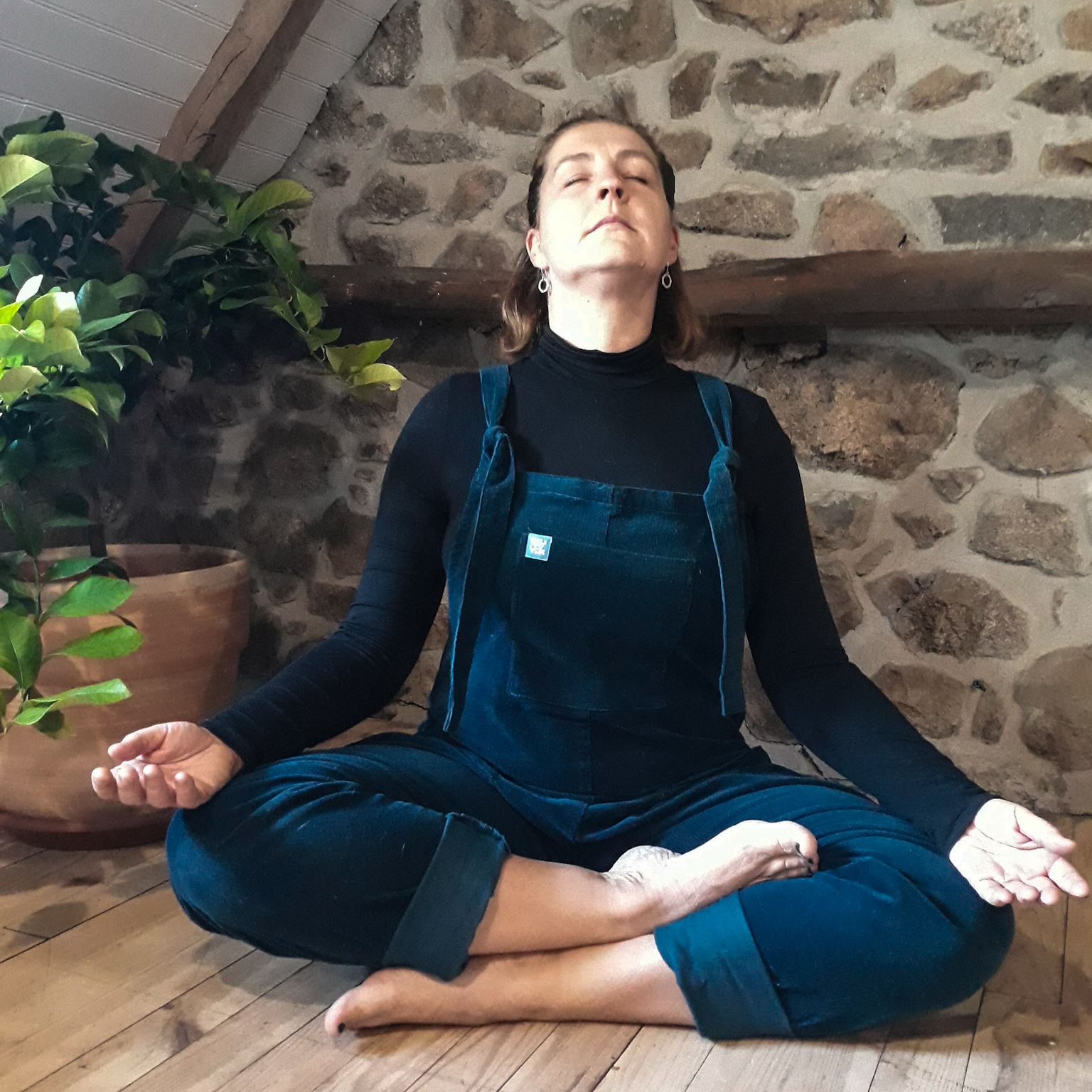On your next exhale lift your face and keep the back of the neck nice and long. Inhale back to centre. Do Two more rounds like this. -