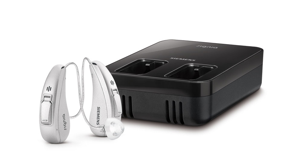 Signia Cellion primax hearing aids and charging station