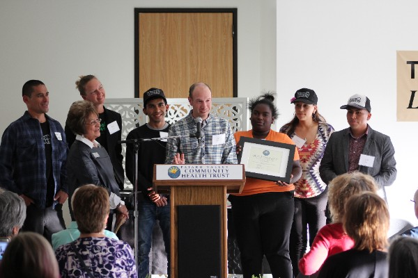 It is my incredible privilege to share that FoodWhat has been selected by the Pajaro Valley Community Health Trust as the   2017 organizational recipient of the Phil Rather Leadership Award!   This award, conferred annually, recognizes one individual and one organization that exercises exemplary leadership in promoting health and quality of life for residents of the Pajaro Valley - especially to those who are most marginalized – and who uphold the legacy of Phil Rather's incredible service and heart in serving the local Pajaro community. In receiving this award at the Health Trust on Wednesday night, FoodWhat was honored for our dedication and innovative approach in providing Pajaro Valley youth with opportunities to lead food systems transformation that fosters an environment in which all individuals have a relationship with, and access to, healthy food, and for FoodWhat's impact on the youth we serve through their significant and lasting diet change and overall health transformation.