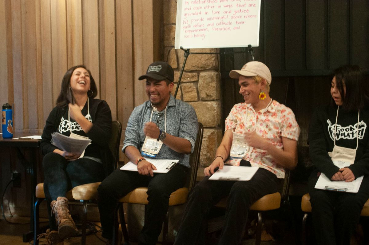 Irene, Uriel, Migé and Eustolia leading a workshop at the EcoFarm Conference on youth agency, empowerment and wellness.