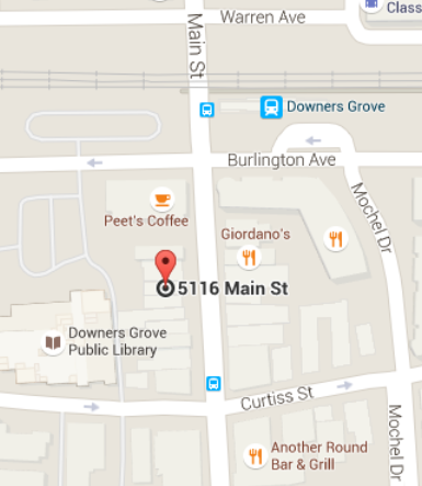 We are located at  5116 Main Street Suite B, Downers Grove, IL 60515,  the north parking lot of the Downers Grove Library. (Back alleyway)