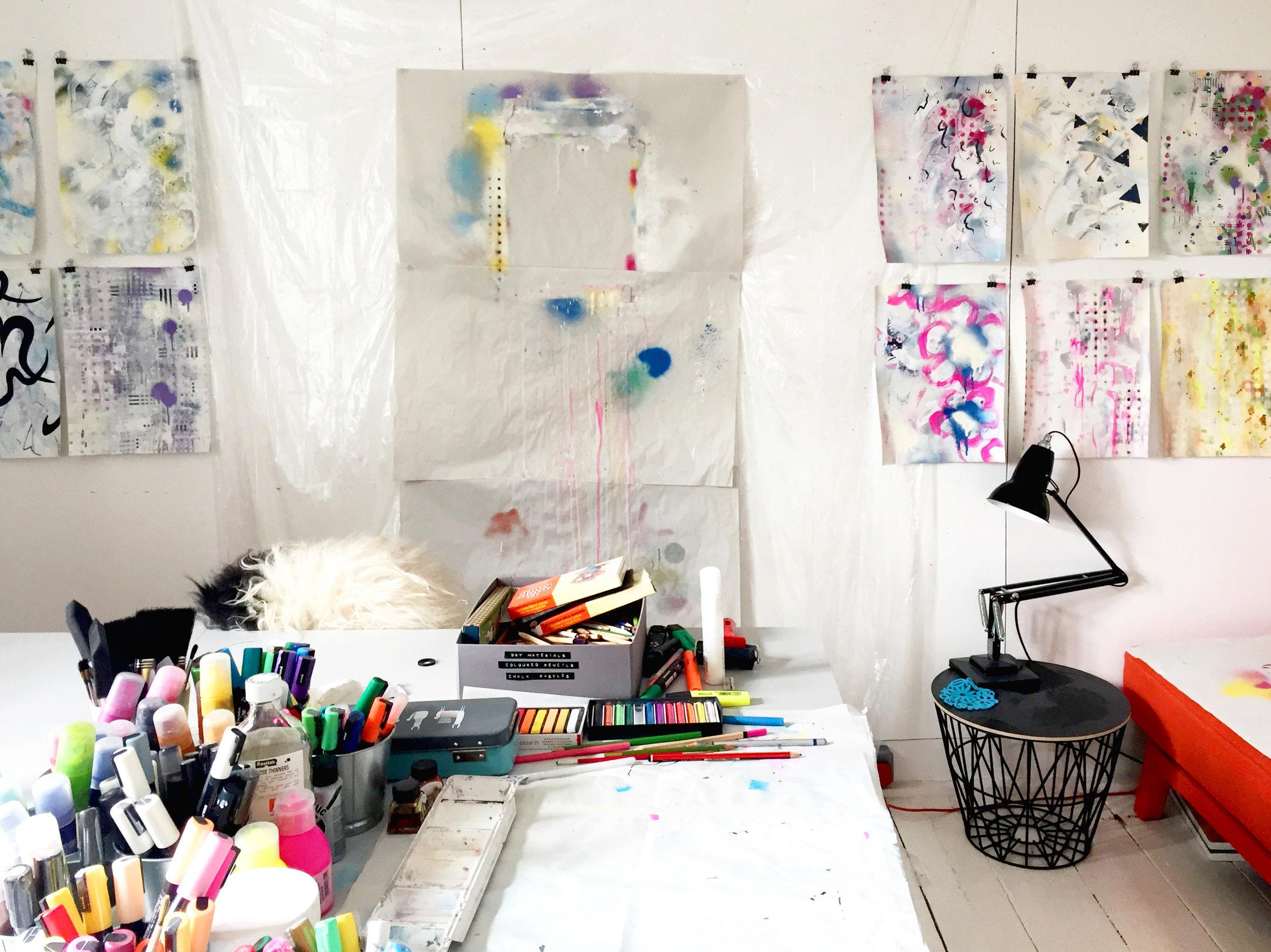 Studio scene showing a series in progress