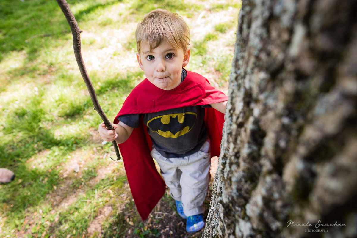 Outdoor Superhero birthday party | Northern Virginia Documentary Family Photography