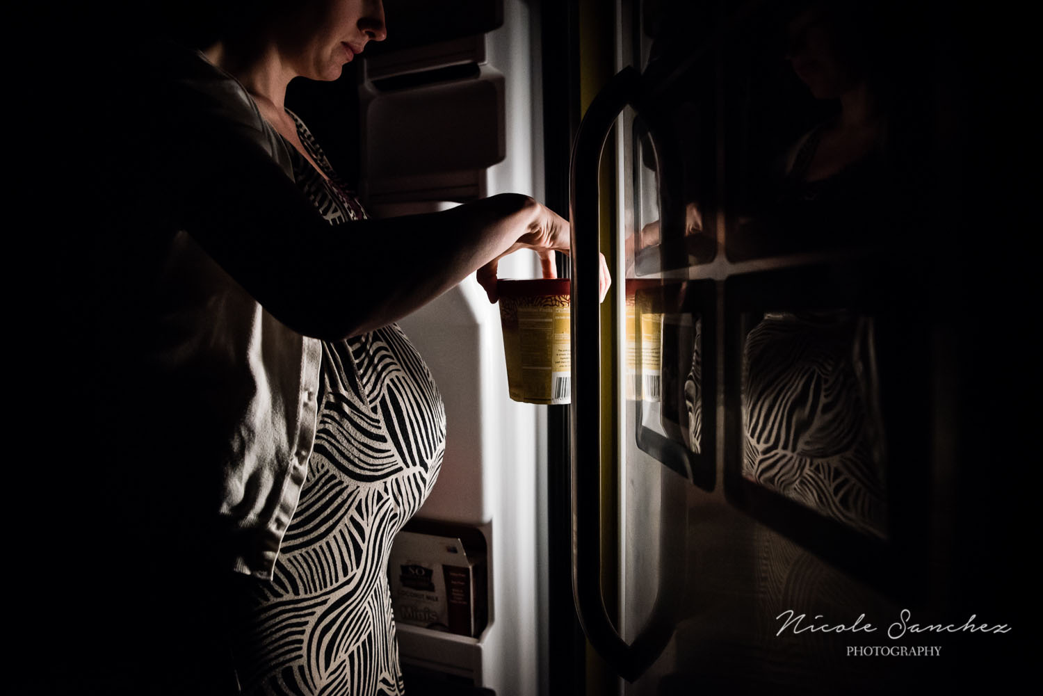 Maternity Self Portrait with Ice Cream by Artificial Refrigerator Light