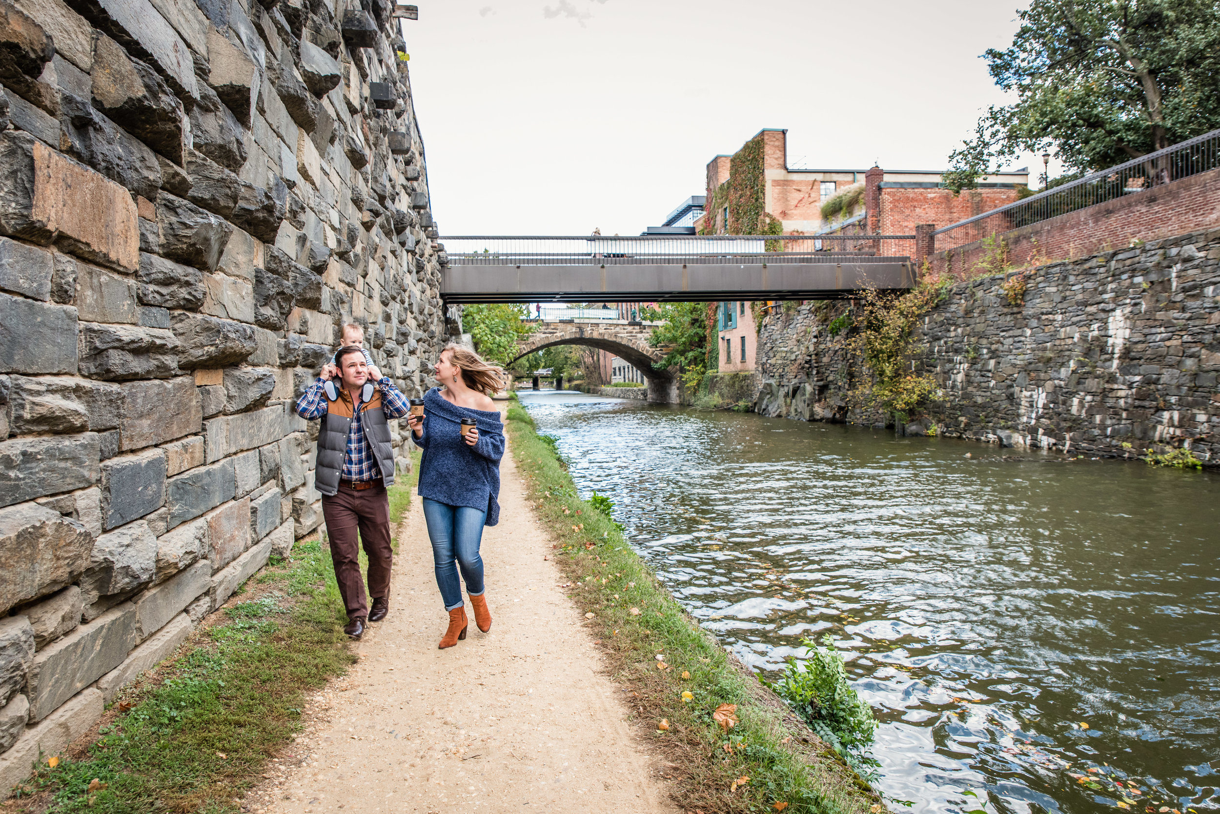 Family walking along C&O Canal in Georgetown, D.C. | Nicole Sanchez Family Photographer