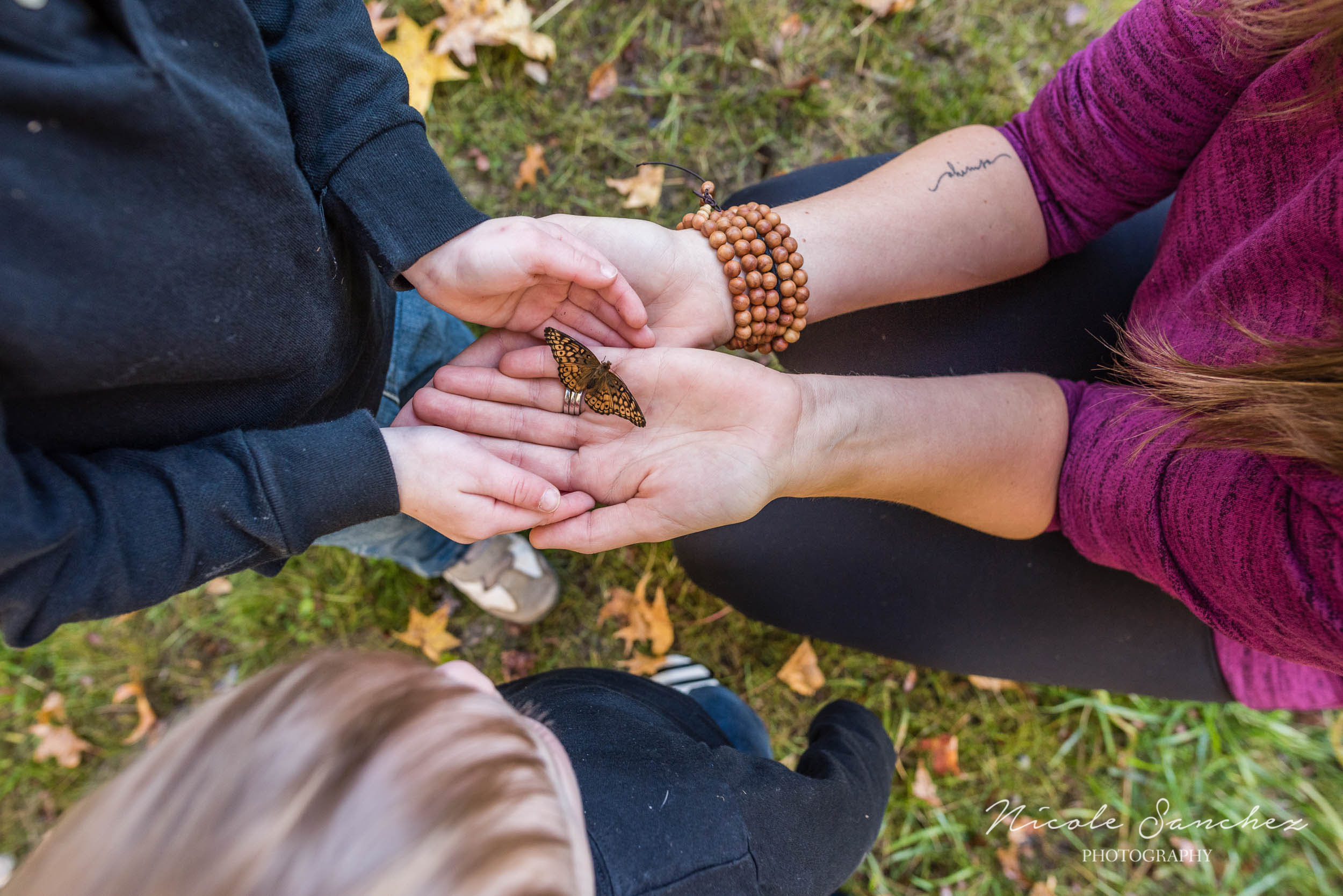 Mom and son holding butterfly at outdoor family session in Northern Virginia by Documentary Photographer Nicole Sanchez