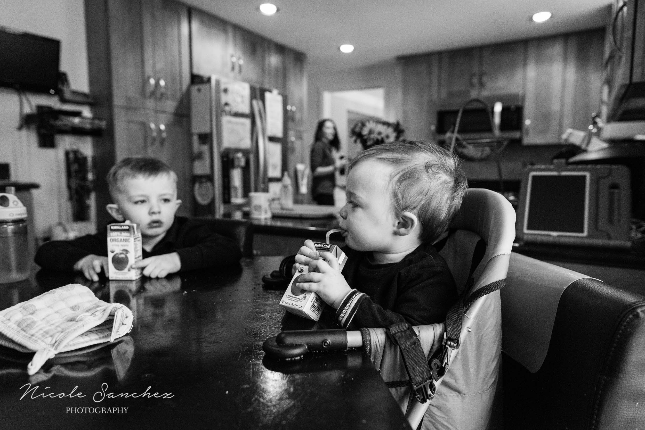 Two young boys drinking juice at table at in-home session by Northern Virginia Family Photographer Nicole Sanchez