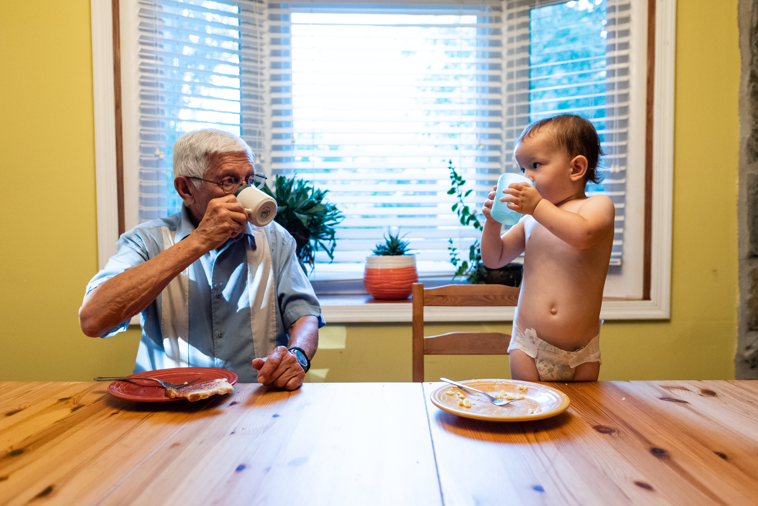 Toddler and Grandpa drinking coffee together by Northern Virginia Family Photographer Nicole Sanchez