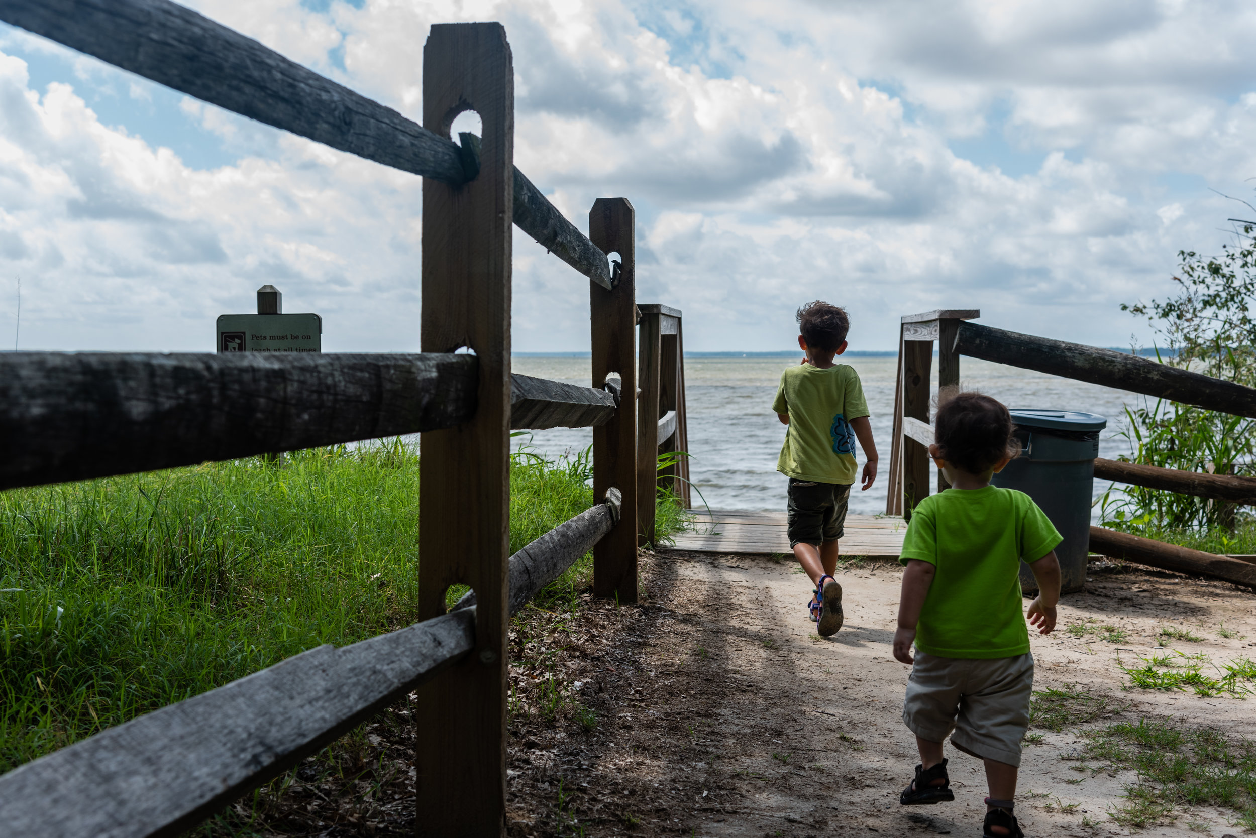 Brothers walking to the beach by Northern Virginia Family Photographer Nicole Sanchez