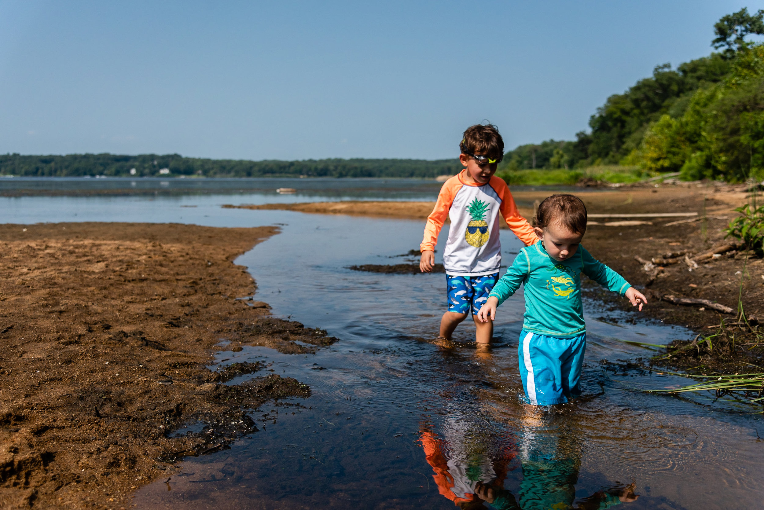 Brothers wading in water at Mason Neck Park by Northern Virginia Family Photographer Nicole Sanchez