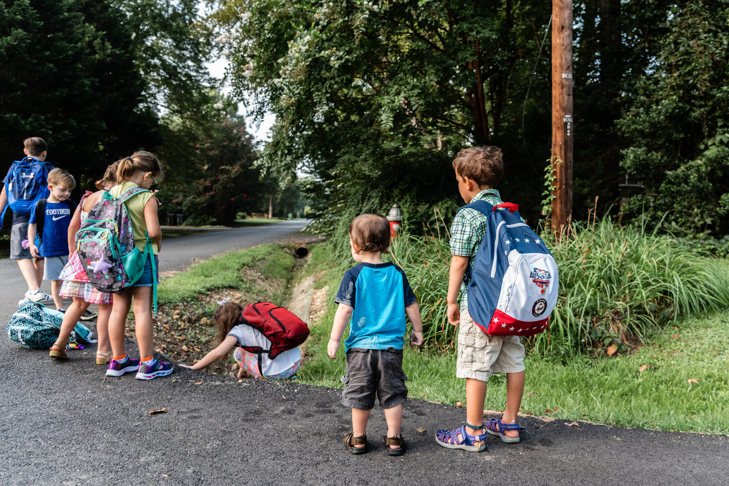 Boy waiting for school bus with baby brother in Northern Virginia by Family Photographer Nicole Sanchez