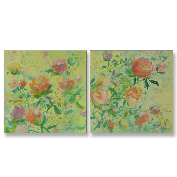 "Spring Sorbet I and II, 24x24"" each, Acrylic on Canvas"