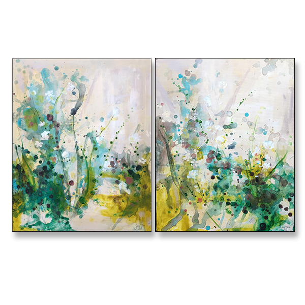 "Wildflower Walk I&II, 16x20"", Acrylic on Stretched Canvas"