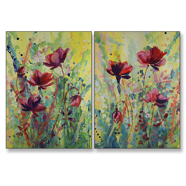 SOLD_Sunshine Bloom I and II, Acrylic on Canvas