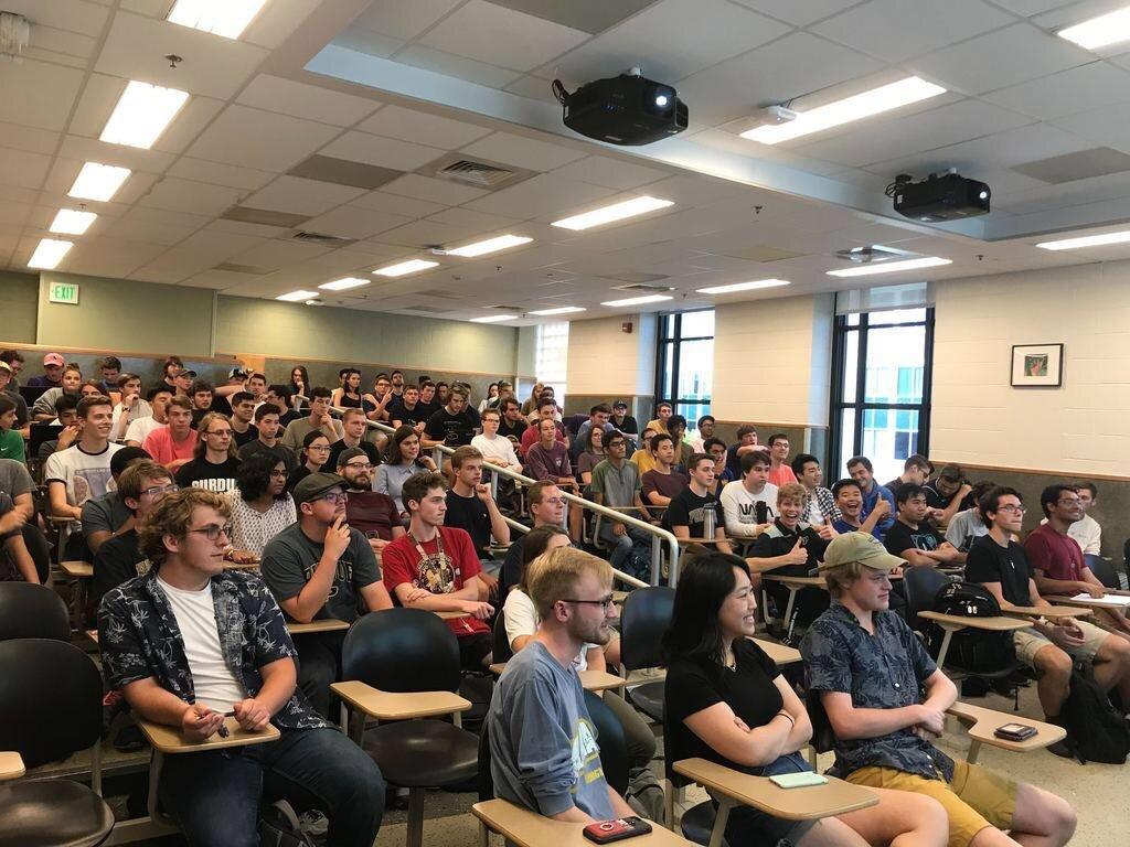 Purdue Orbital's first meeting.  135 active members.