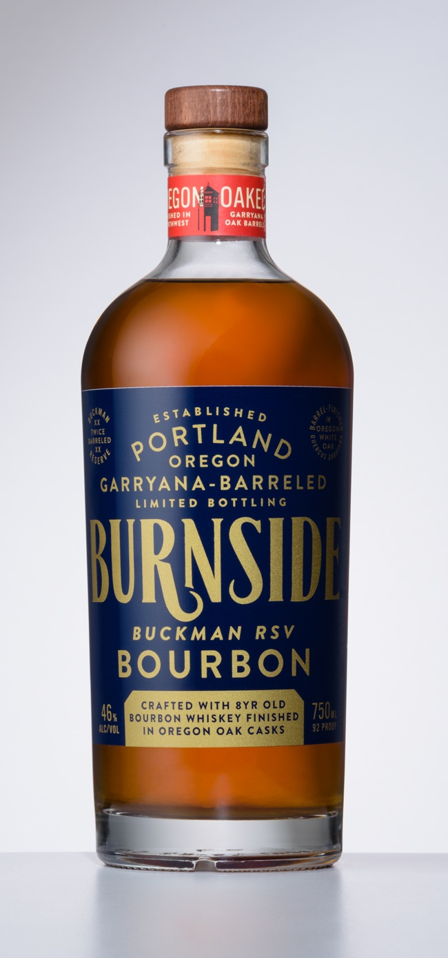 Burnside Buckman Reserve Anniversary Blend: 8, 10 and 14 year straight bourbons blended and rested in charred Quercus Garryana Casks for 10 months.