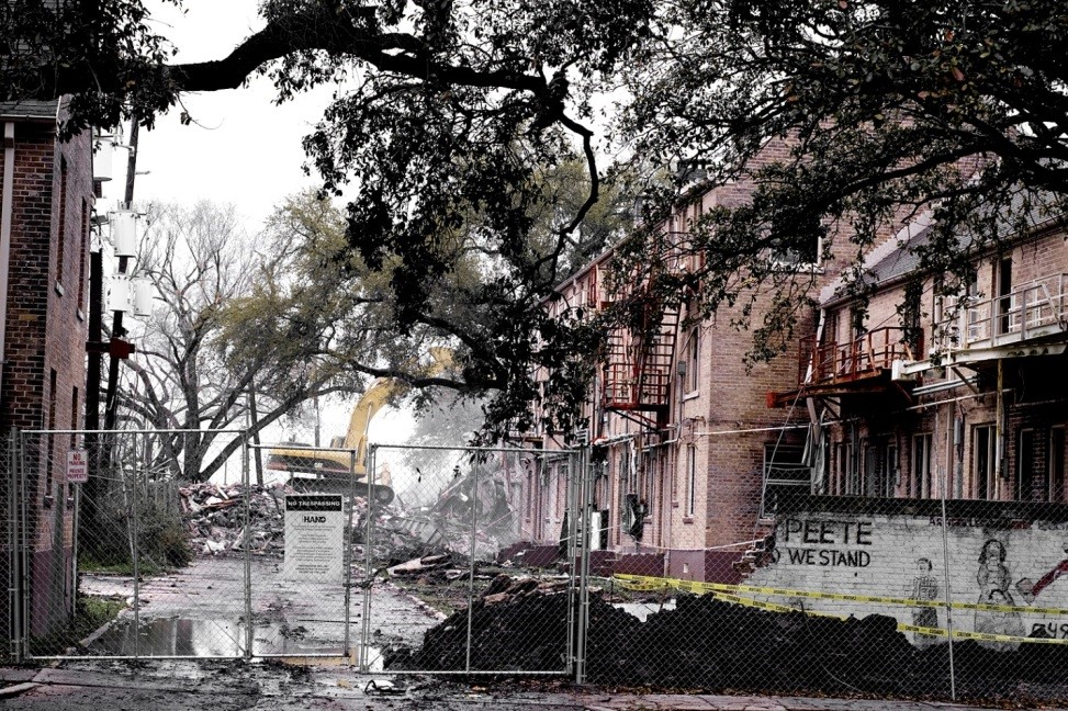 The demolition of CJ Peete, one of the New Orleans HOPE VI public housing projects (Photo credit: Shawn Escoffery)